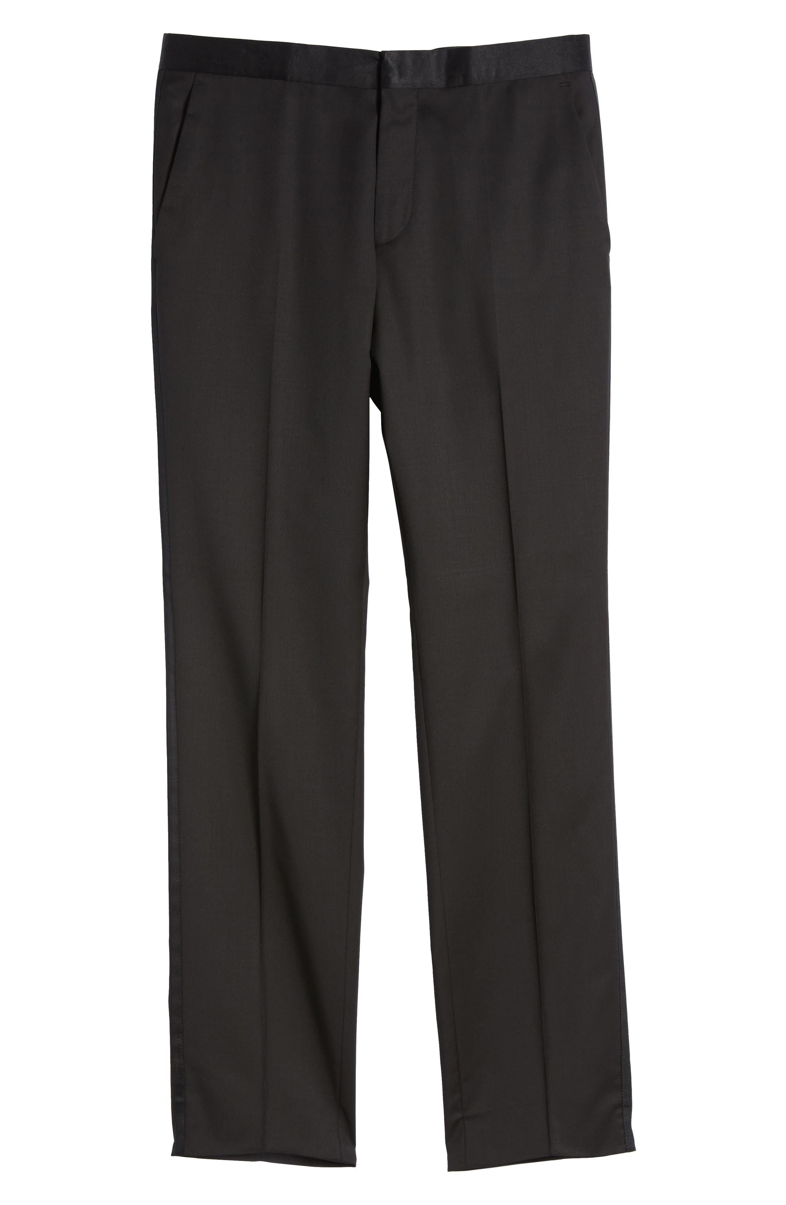 BOSS, Gilan CYL Flat Front Wool Trousers, Alternate thumbnail 6, color, BLACK