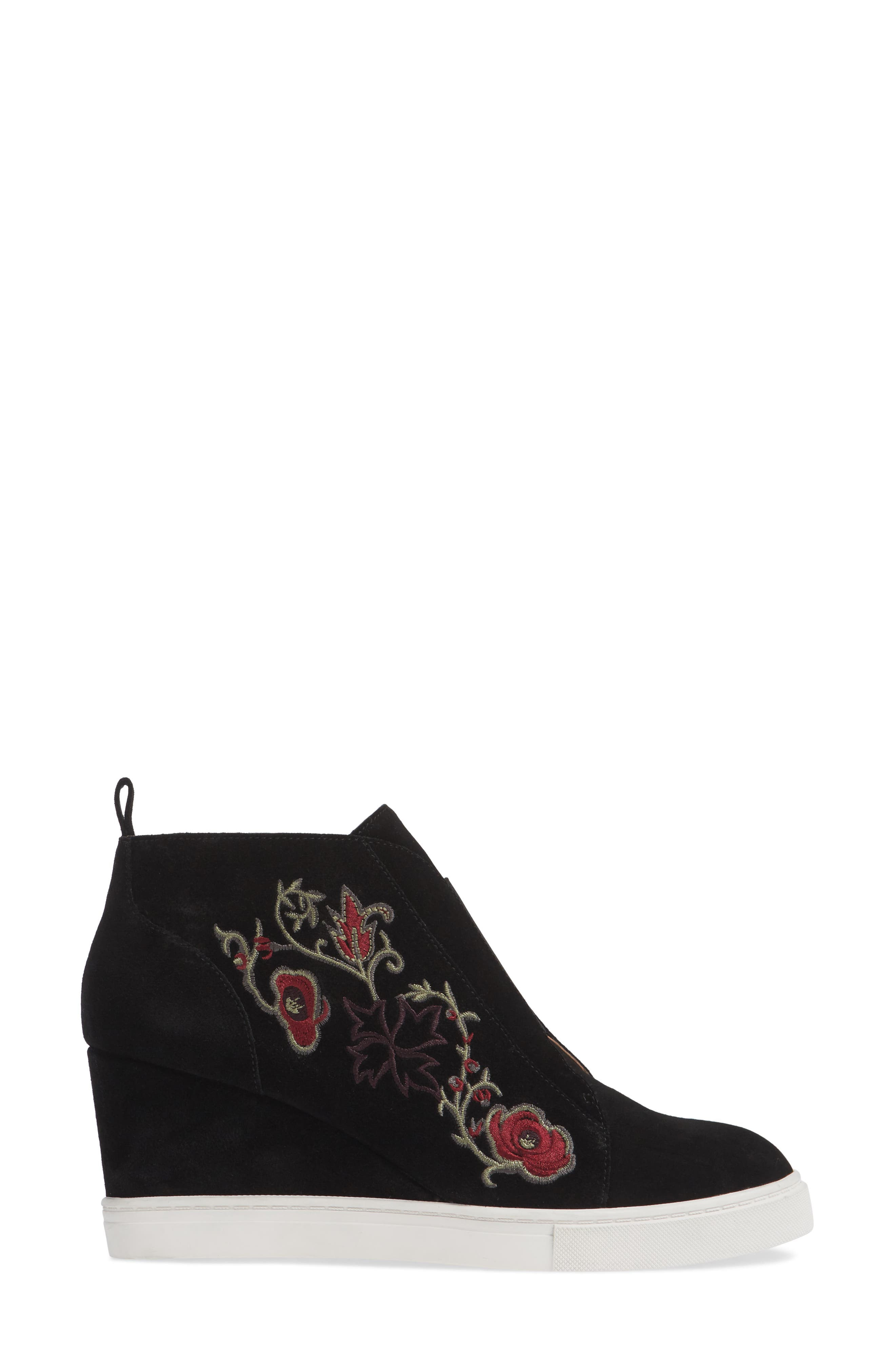 LINEA PAOLO, Felicia II Wedge Bootie, Alternate thumbnail 3, color, BLACK/ BLACK EMBROIDERY SUEDE