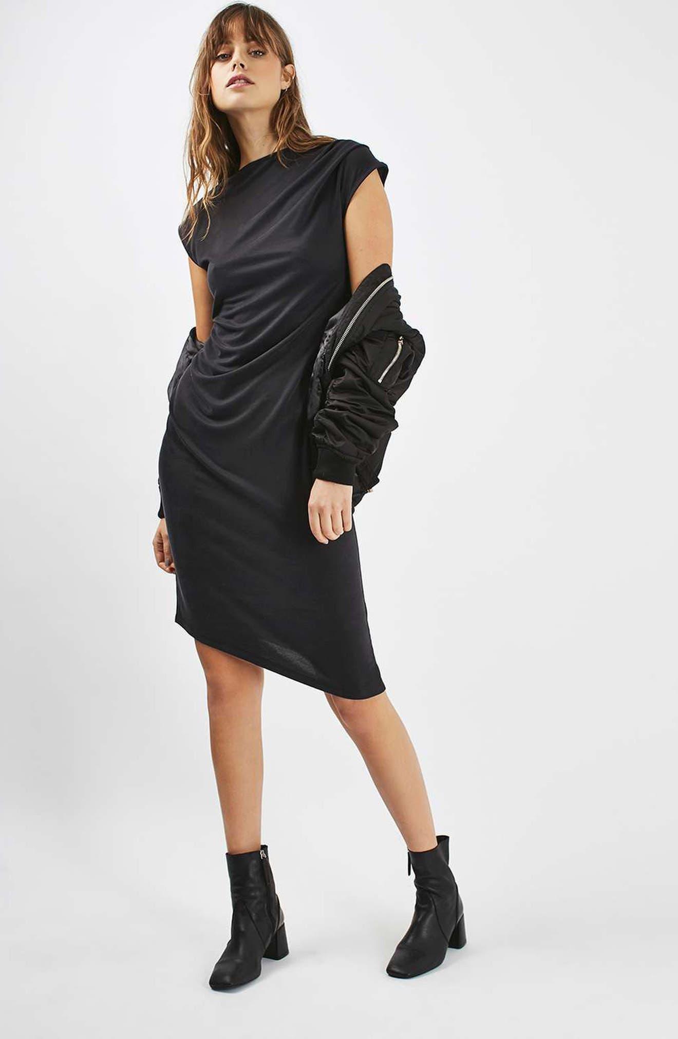 TOPSHOP, Asymmetric Slinky Drape Dress, Alternate thumbnail 2, color, 001