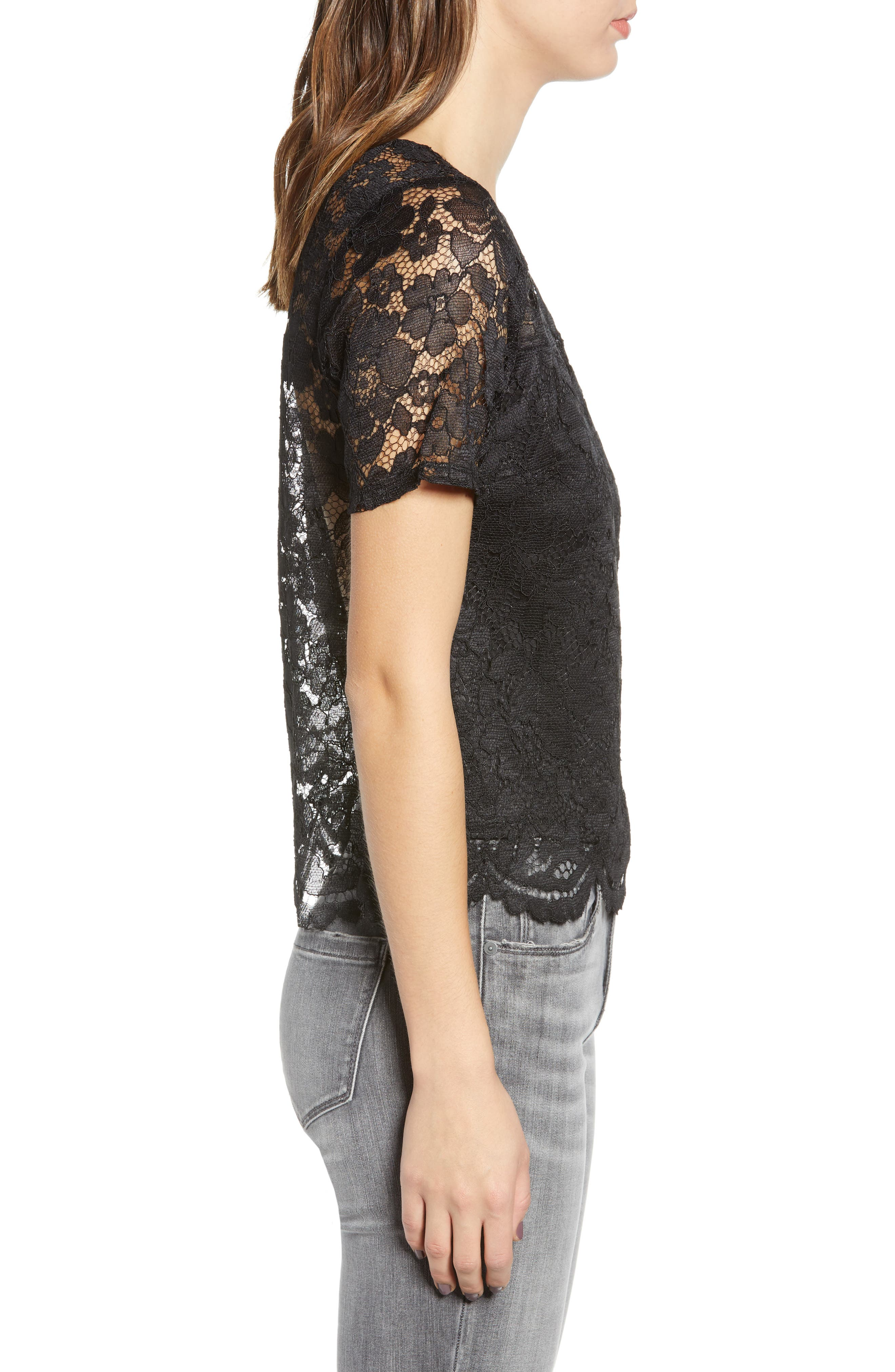 LEITH, Scalloped Lace Tee, Alternate thumbnail 3, color, BLACK
