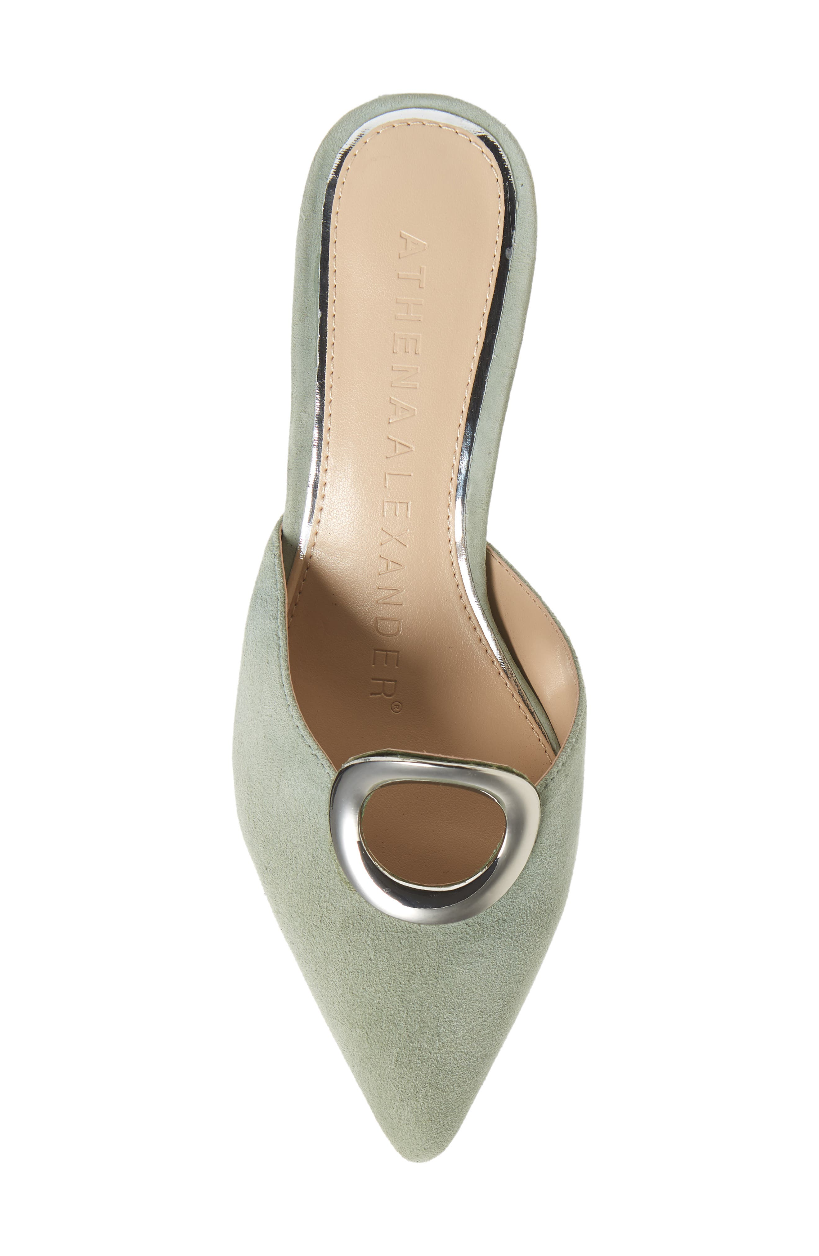 ATHENA ALEXANDER, Pointy Toe Mule, Alternate thumbnail 5, color, GREEN SUEDE