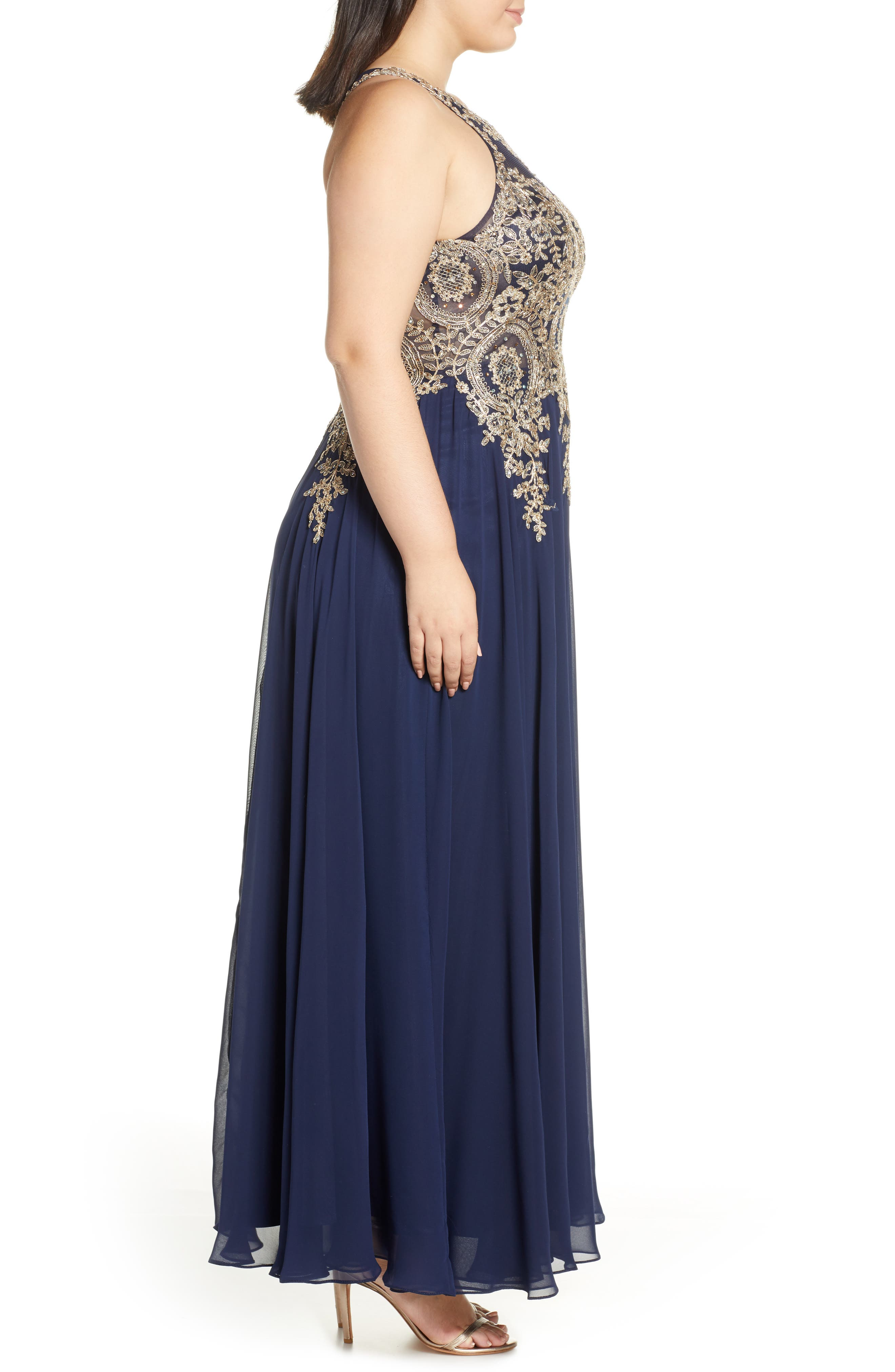 XSCAPE, Metallic Embroidered Gown, Alternate thumbnail 4, color, NAVY/ GOLD
