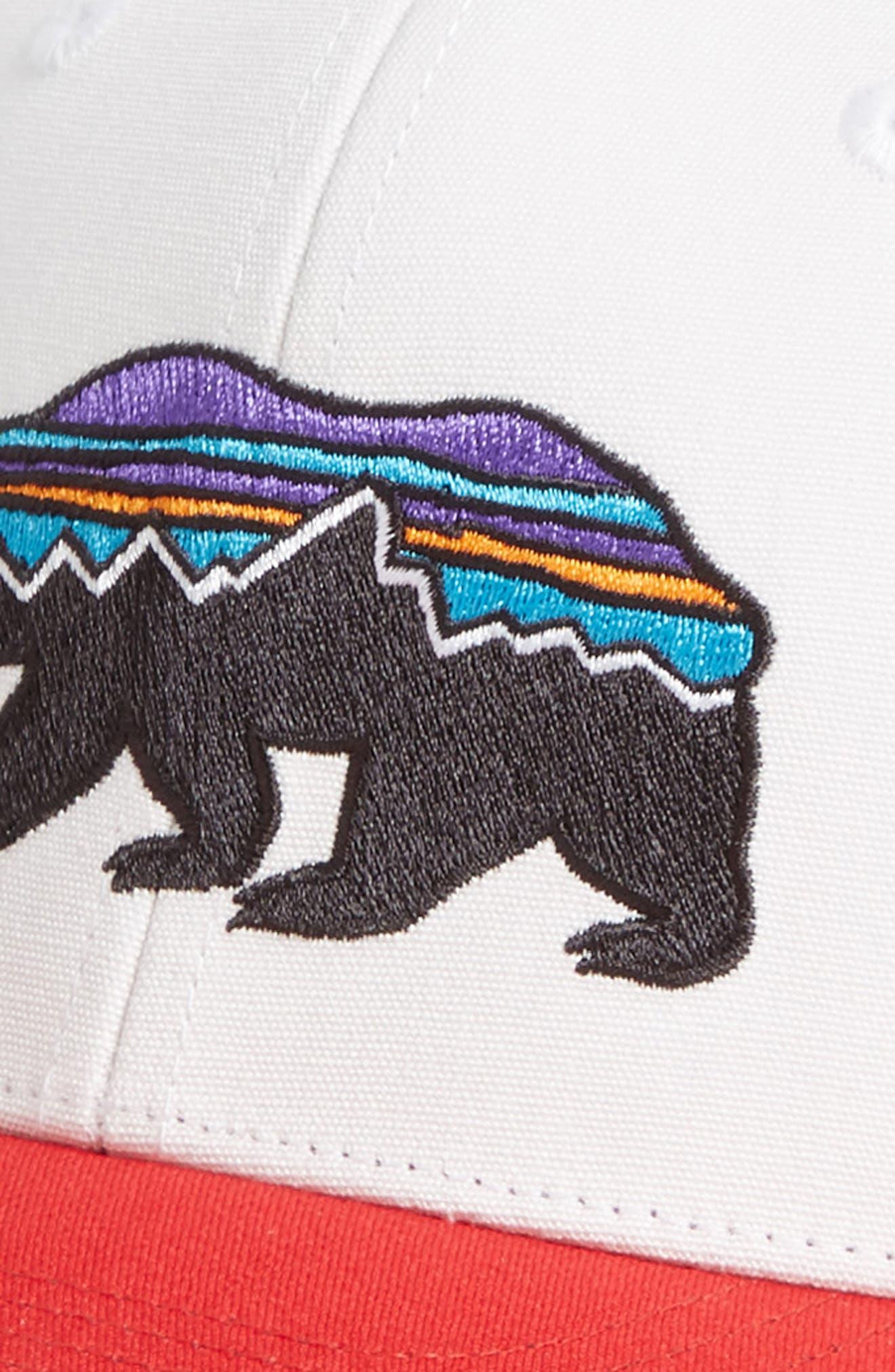 PATAGONIA, Fitz Roy Bear Trucker Cap, Alternate thumbnail 3, color, WHITE