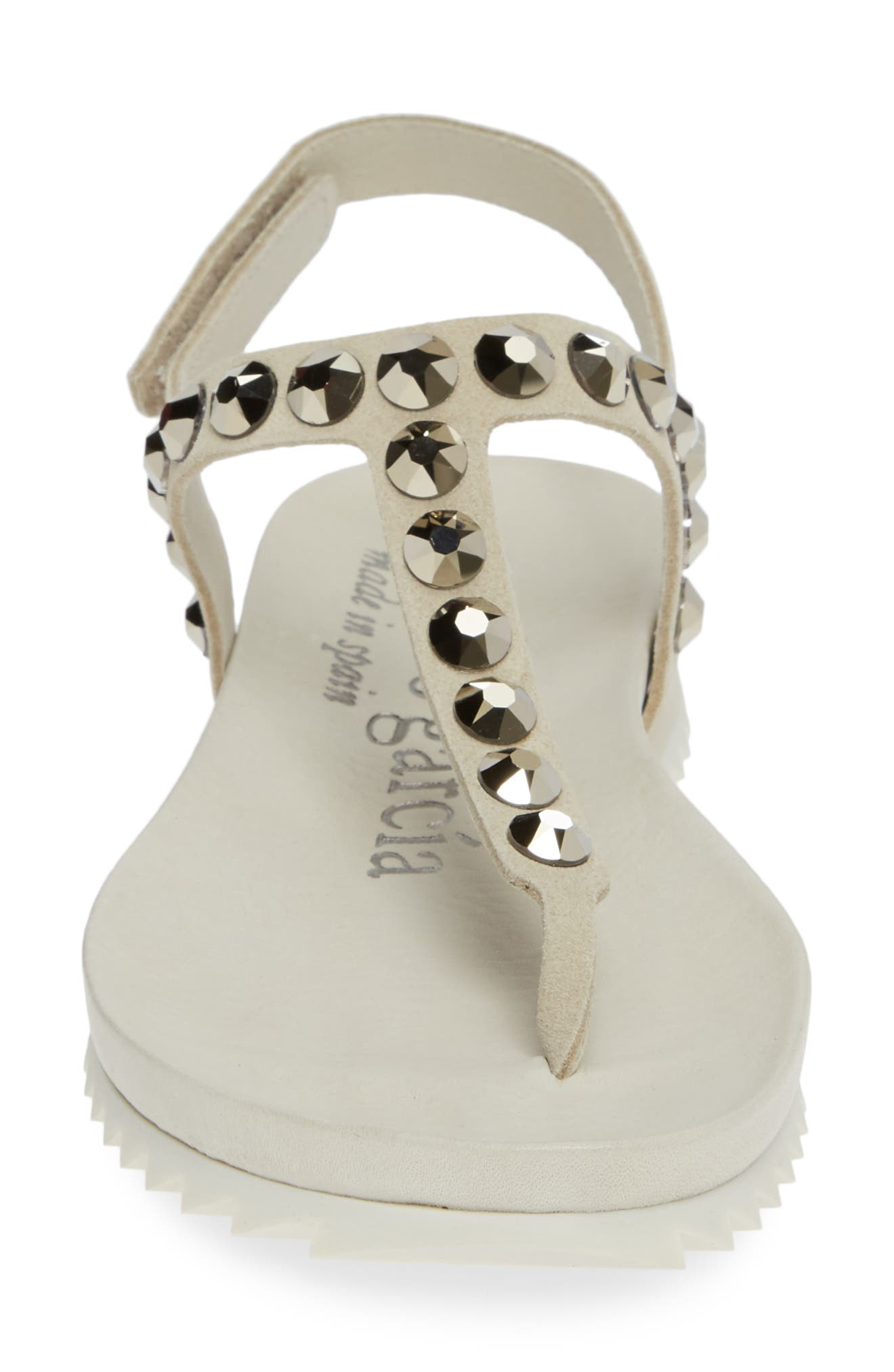 PEDRO GARCIA, Crystal Embellished T-Strap Sandal, Alternate thumbnail 4, color, NACRE CASTORO