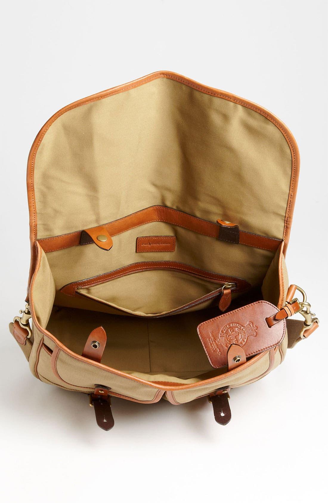 POLO RALPH LAUREN, Canvas Messenger Bag, Alternate thumbnail 2, color, 270