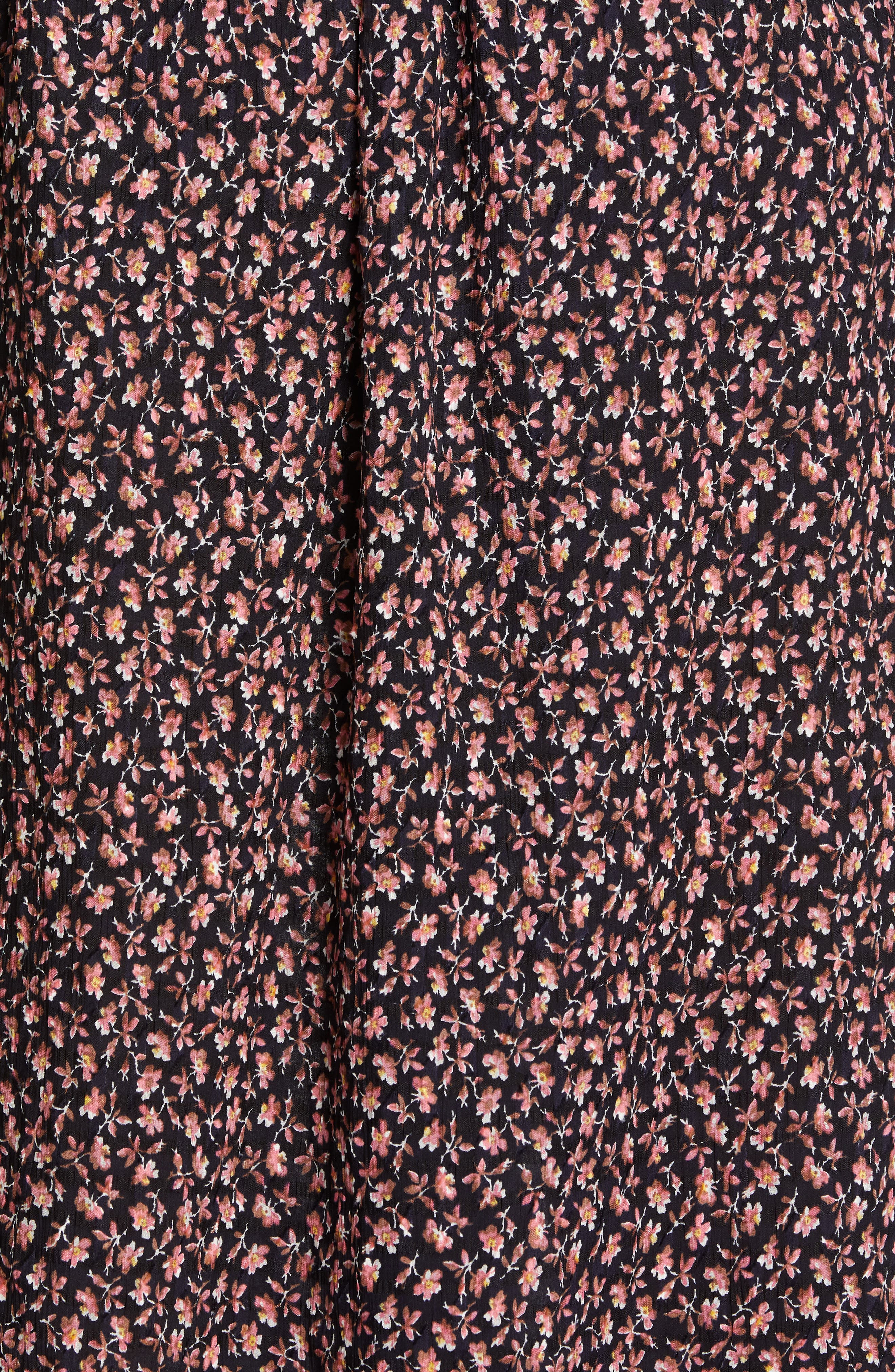 REBECCA TAYLOR, Floral Smock Detail Long Sleeve Silk & Cotton Dress, Alternate thumbnail 5, color, NAVY COMBO
