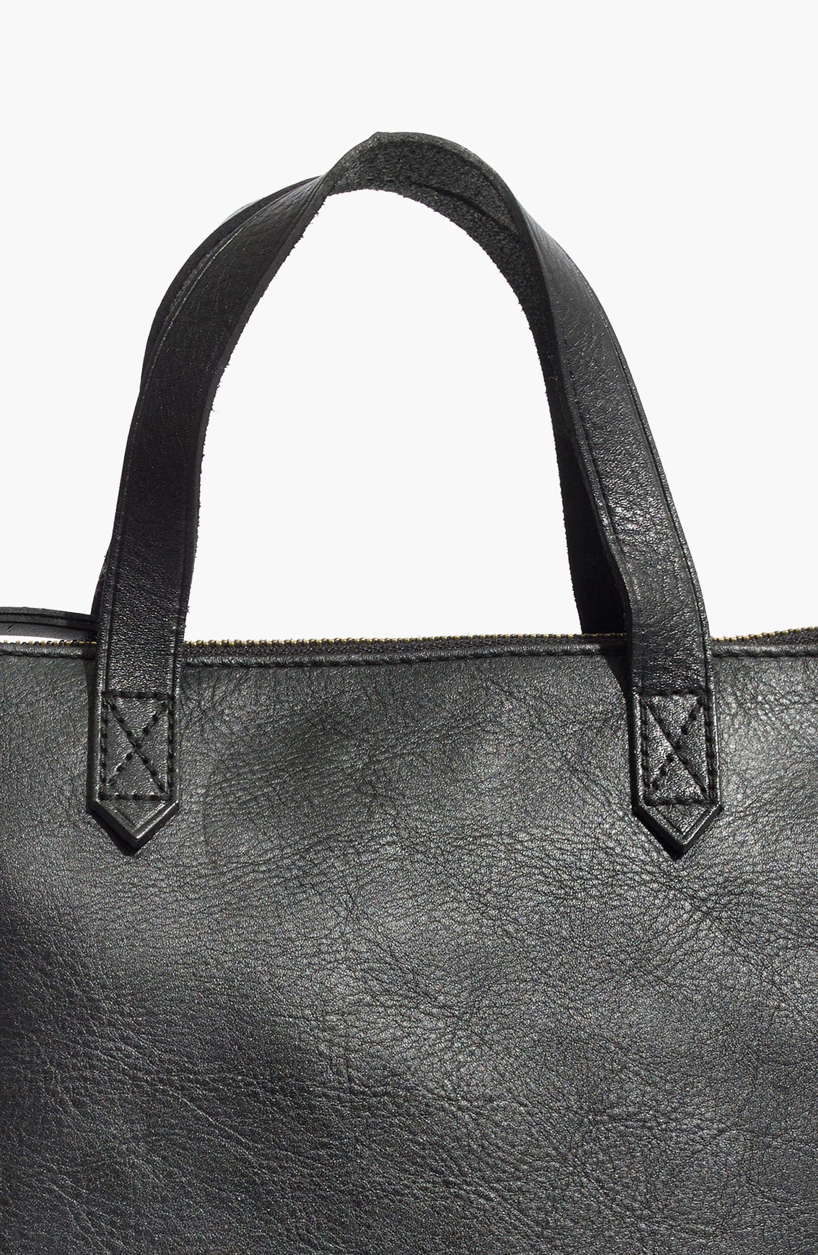 MADEWELL, Small Transport Leather Crossbody Tote, Alternate thumbnail 6, color, TRUE BLACK