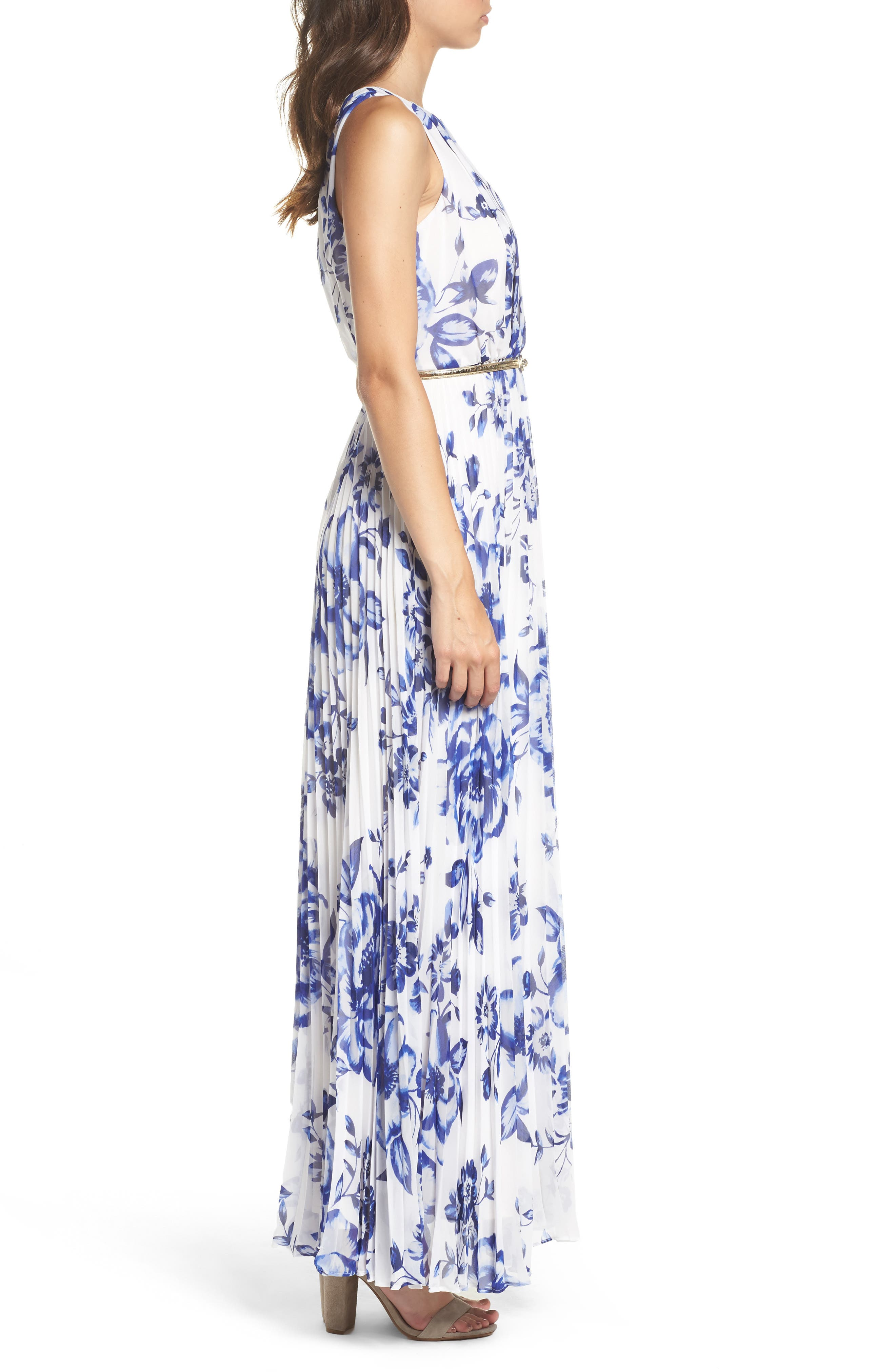 ELIZA J, Pleated Floral Chiffon Maxi Dress, Alternate thumbnail 4, color, COBALT