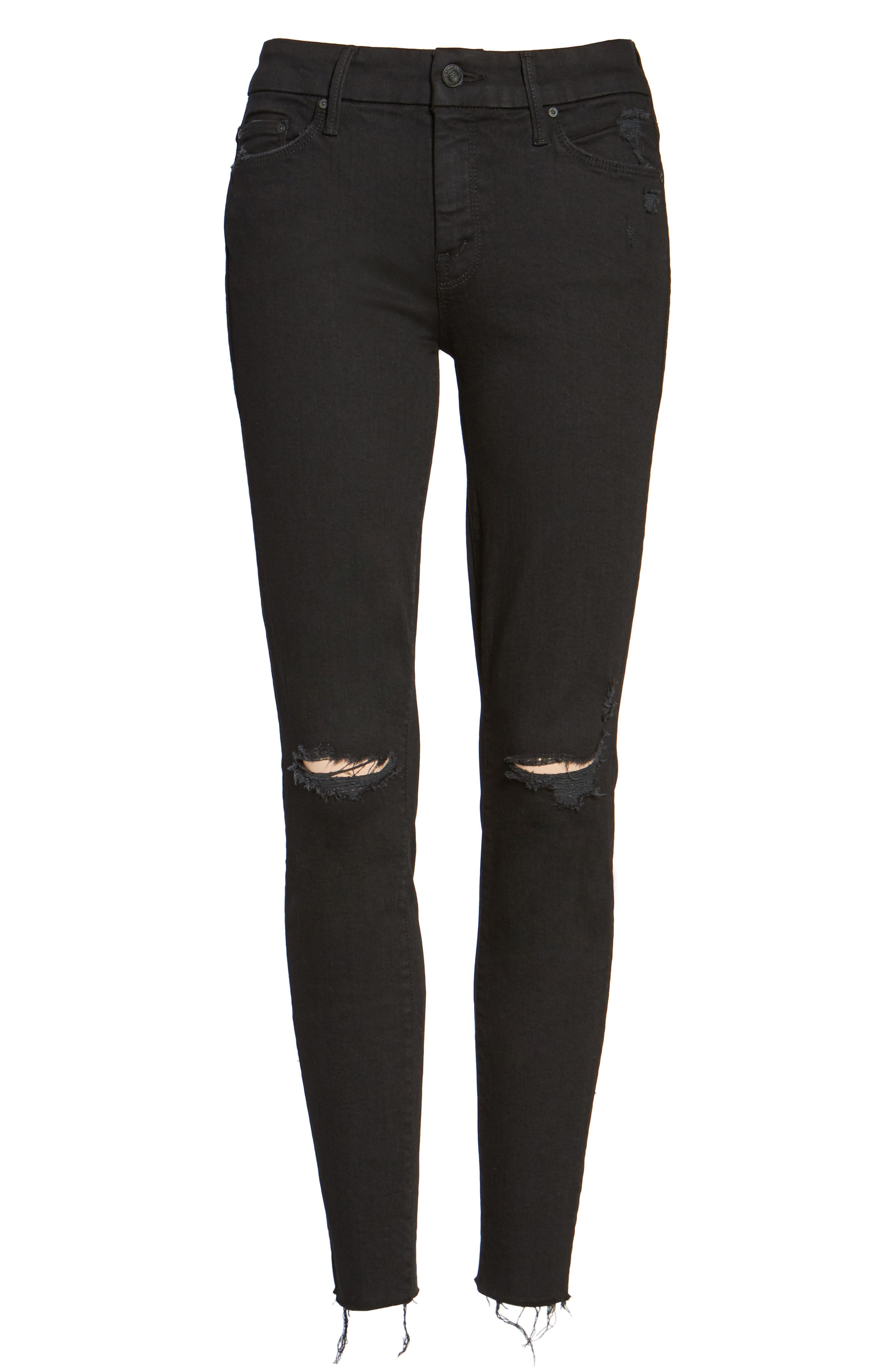 MOTHER, 'The Looker' Frayed Ankle Skinny Jeans, Alternate thumbnail 2, color, GUILTY AS SIN