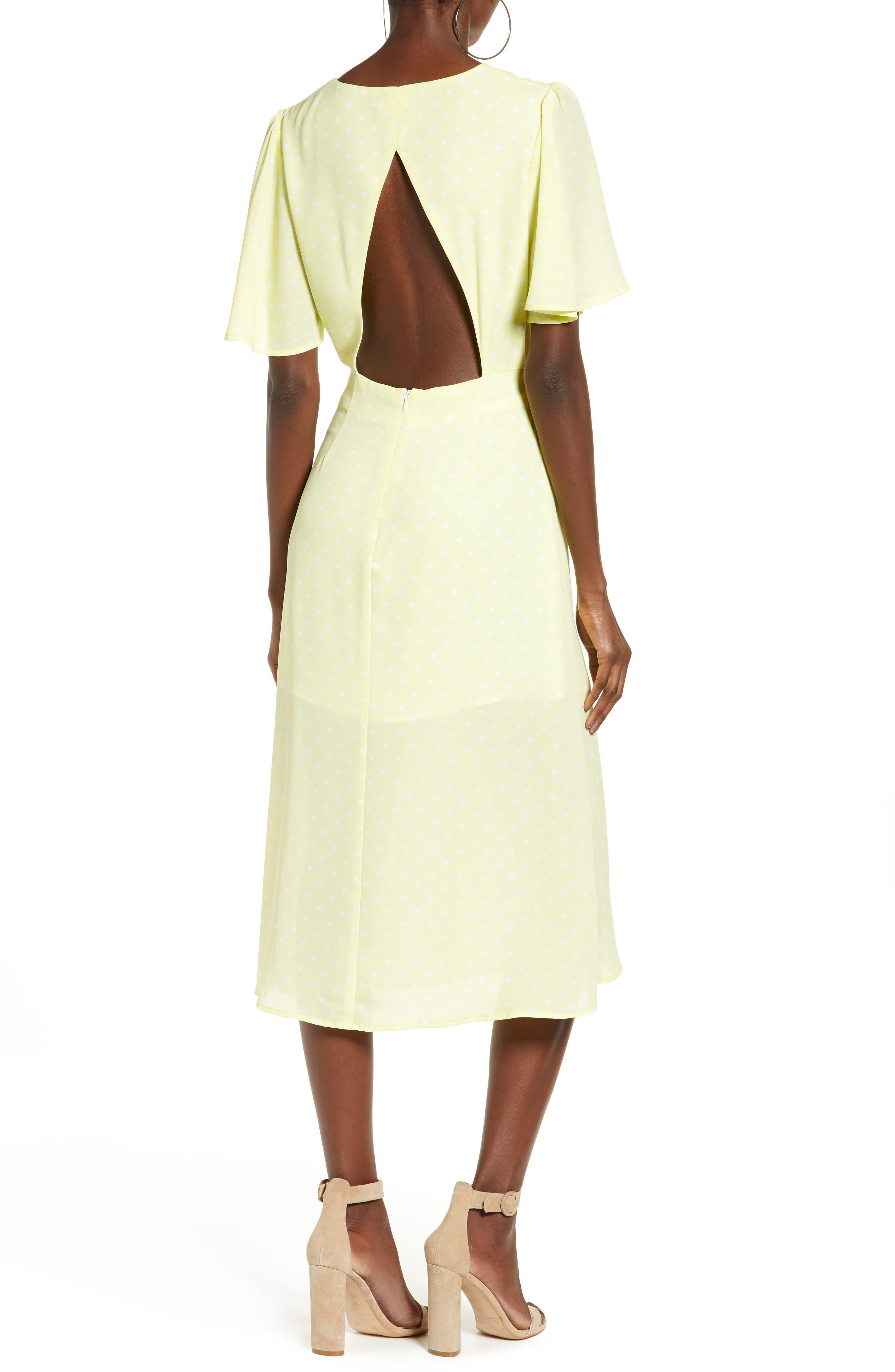 LEITH, Flutter Sleeve Midi Dress, Alternate thumbnail 2, color, YELLOW MERINGUE DOT