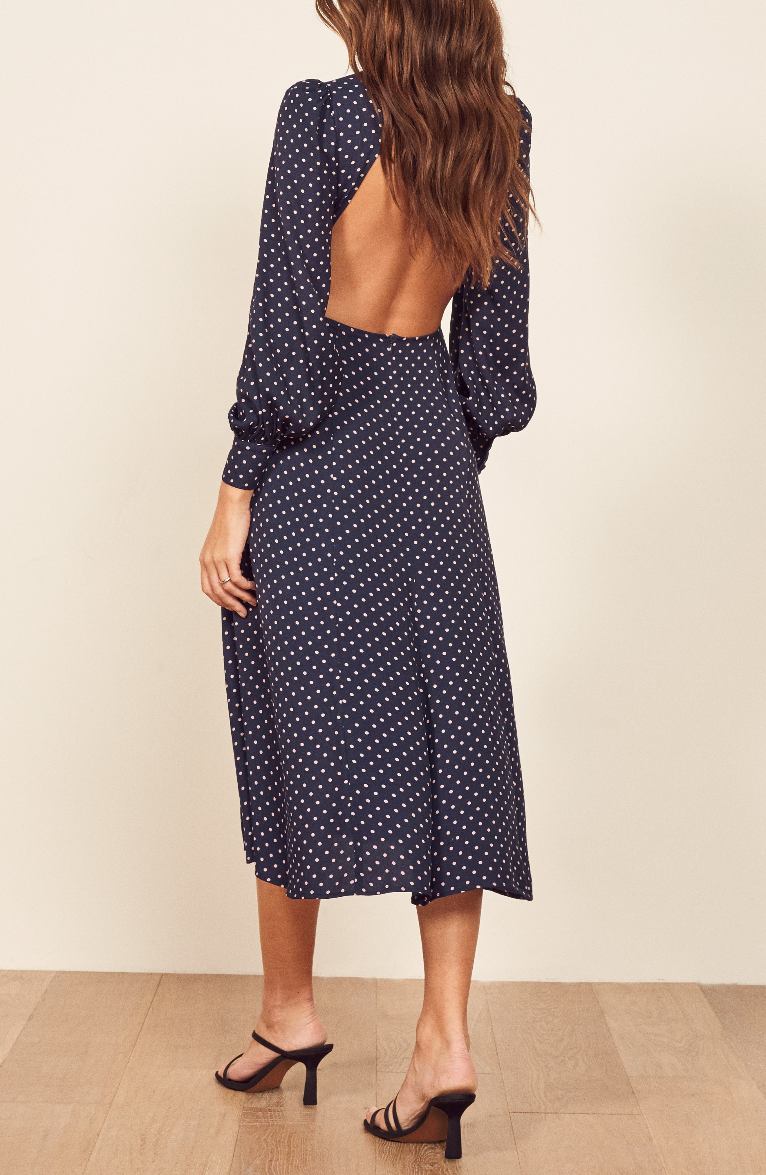 REFORMATION, Abigaile Long Sleeve Dress, Alternate thumbnail 4, color, AFTERNOON
