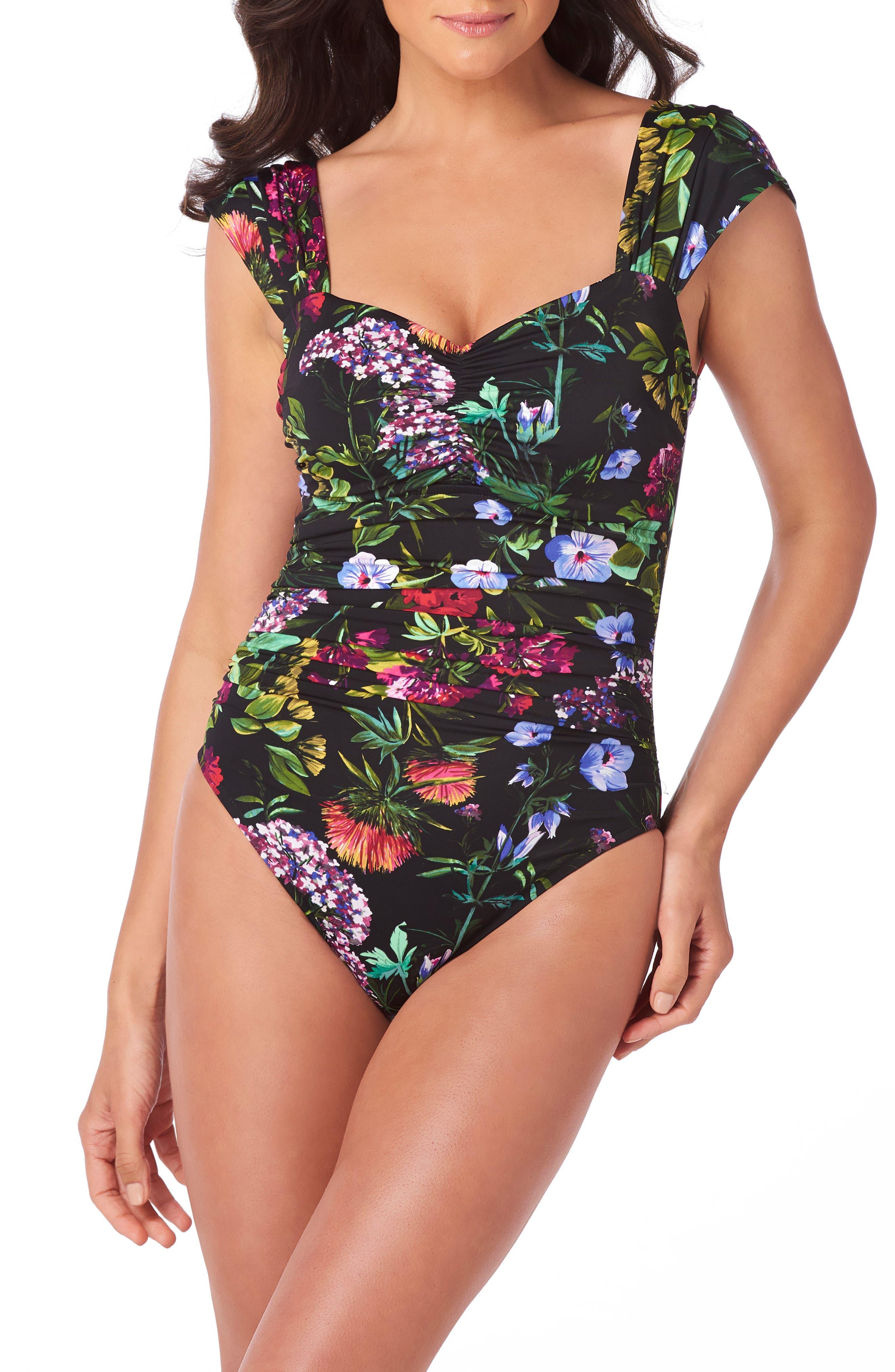 MAGICSUIT<SUP>®</SUP>, Modern Romance Natalie One-Piece Swimsuit, Main thumbnail 1, color, BLACK/ MULTI