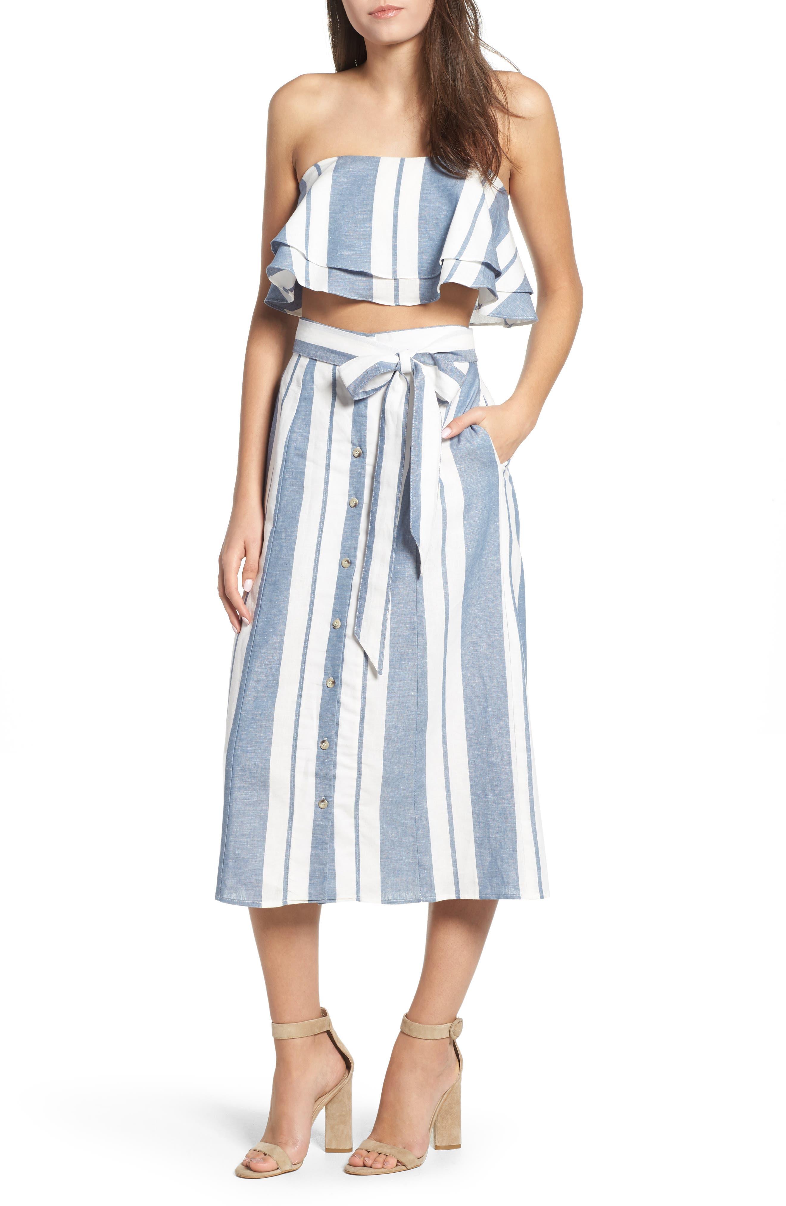 WAYF, Stripe Midi Skirt, Alternate thumbnail 7, color, 400