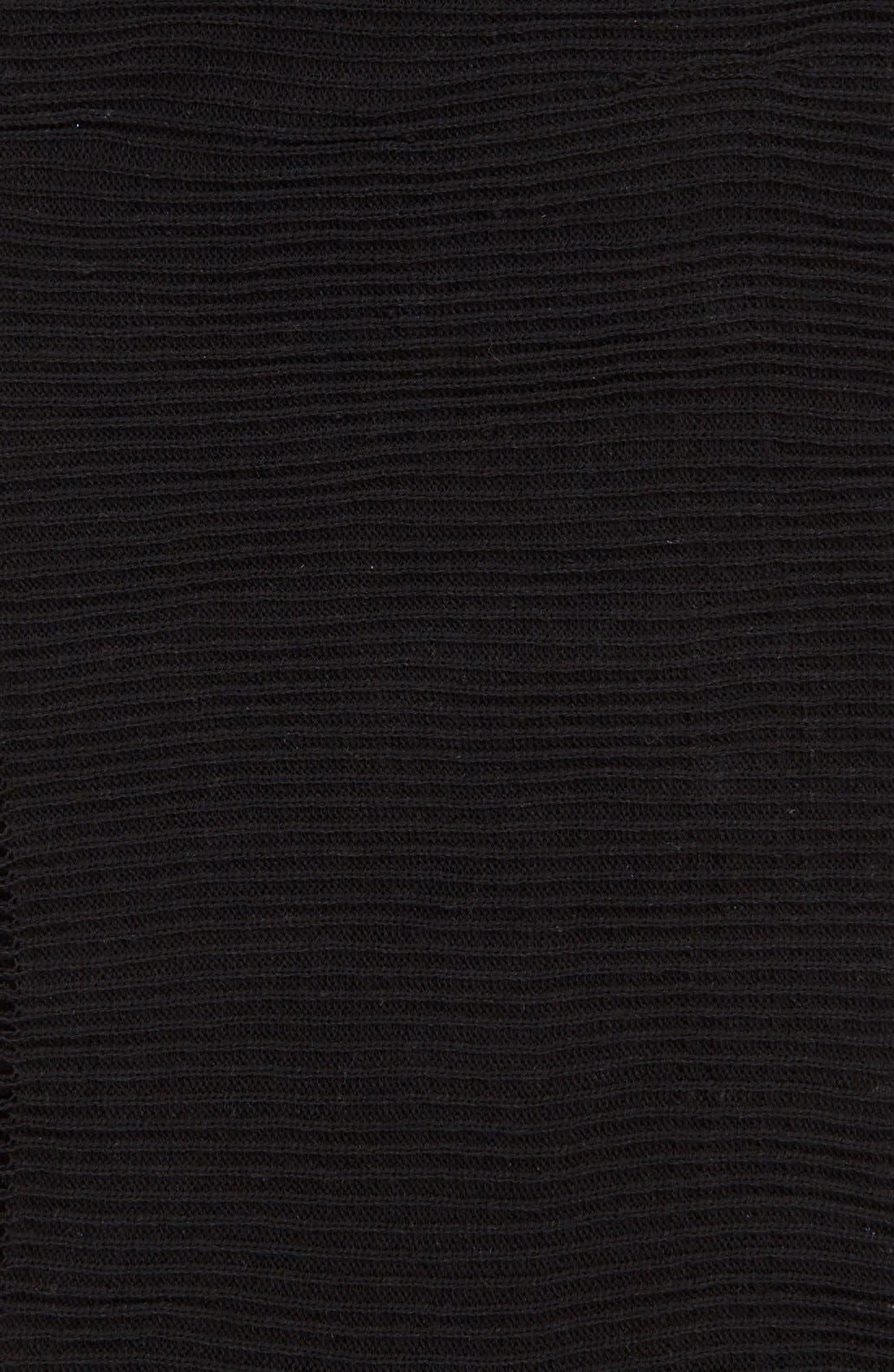 BP., Rib Knit Fringe Infinity Scarf, Alternate thumbnail 2, color, 001