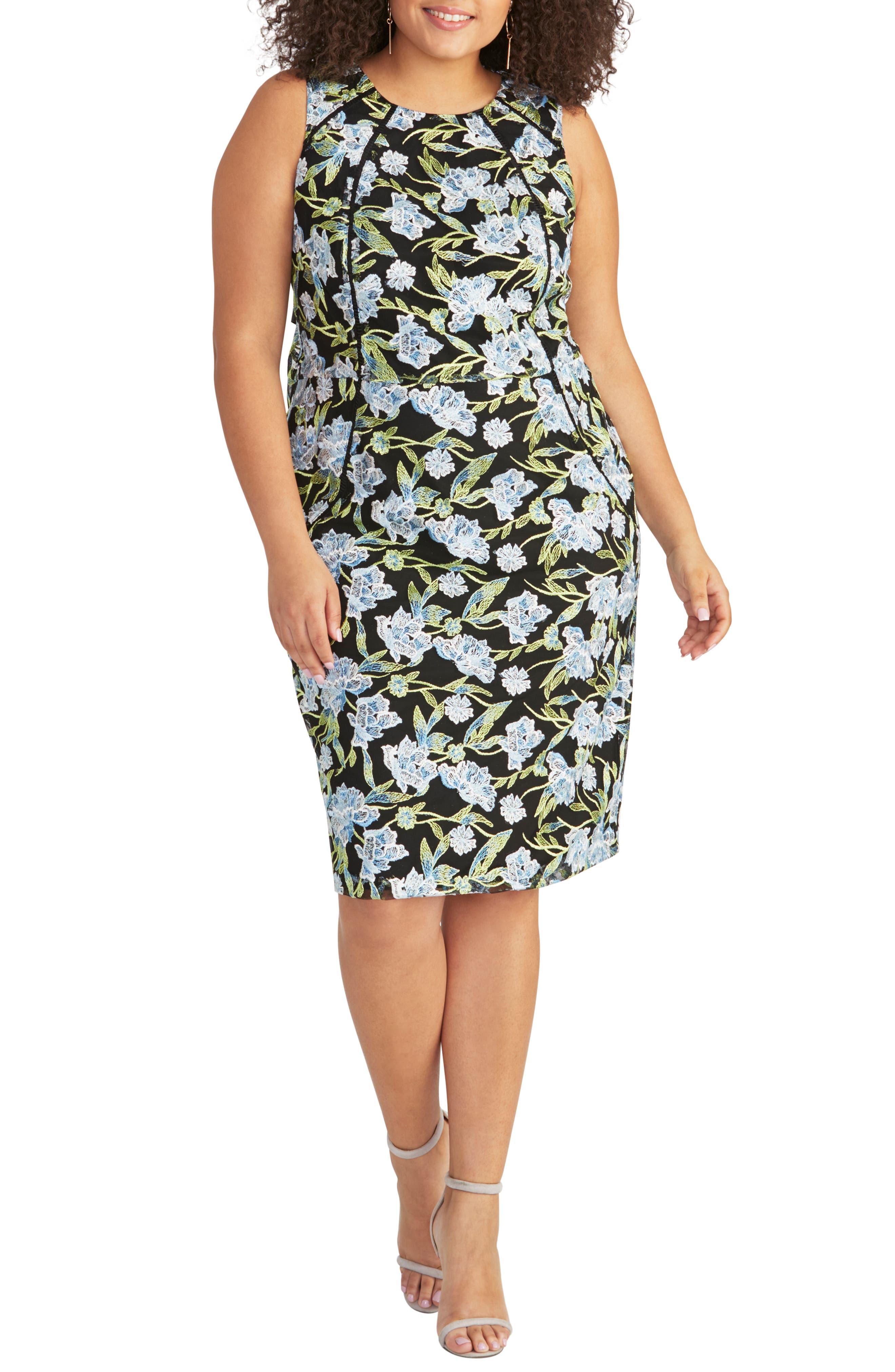 Plus Size Rachel Rachel Roy Embroidered Floral Sheath Dress, Black