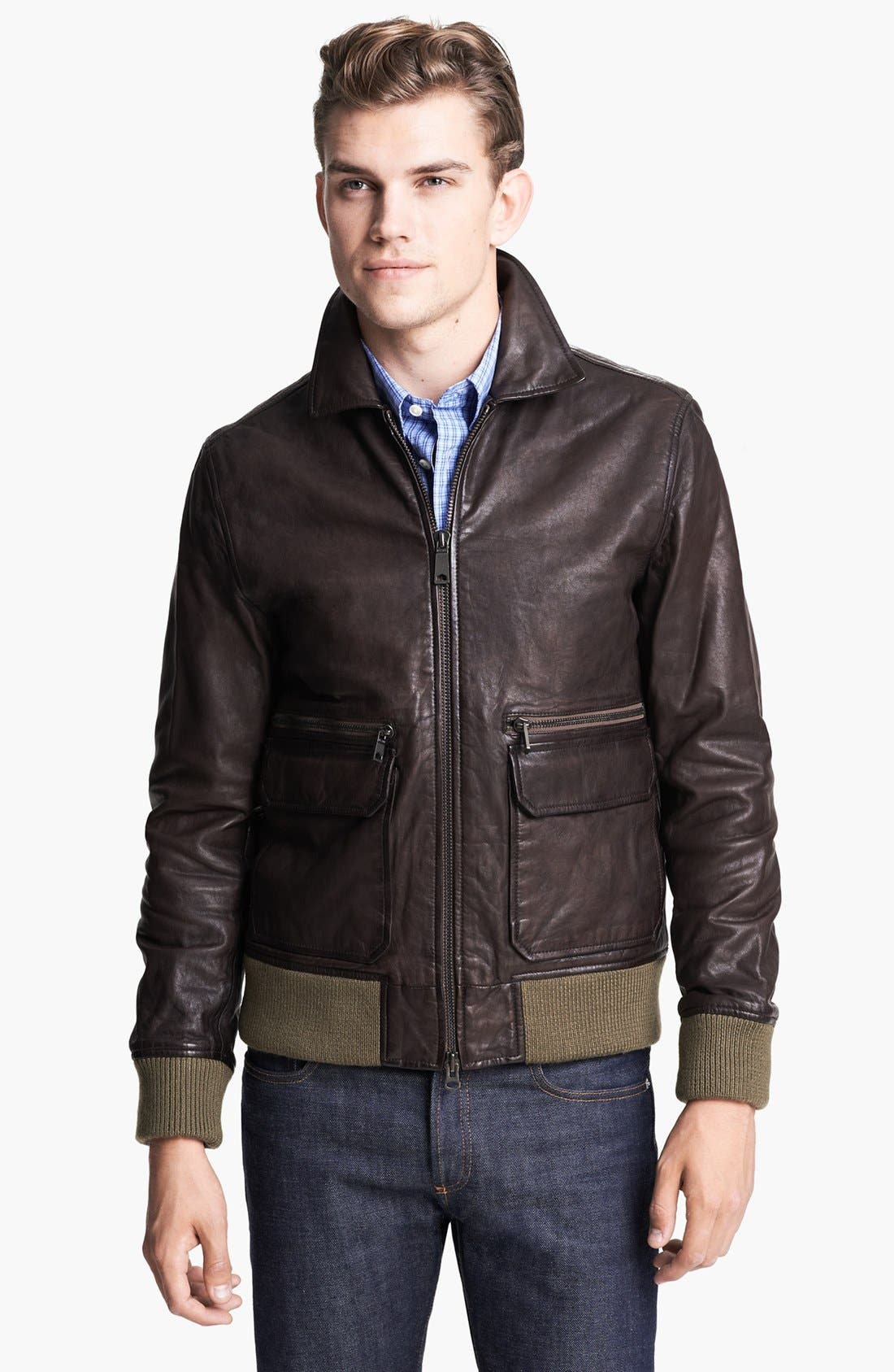 JACK SPADE 'Huxley' Leather Bomber Jacket, Main, color, 200