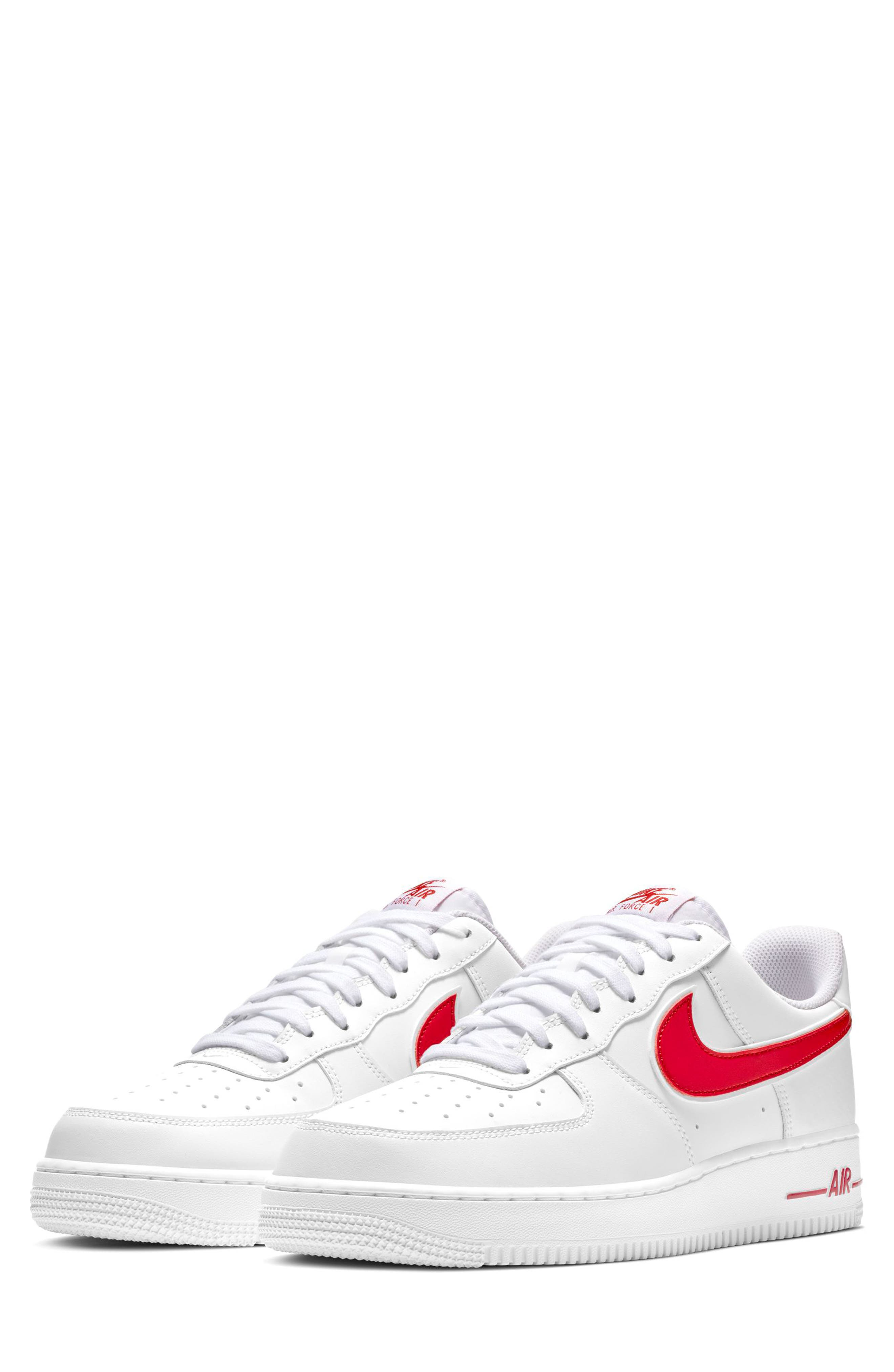 NIKE, Air Force 1 '07 3 Sneaker, Main thumbnail 1, color, WHITE/ GYM RED