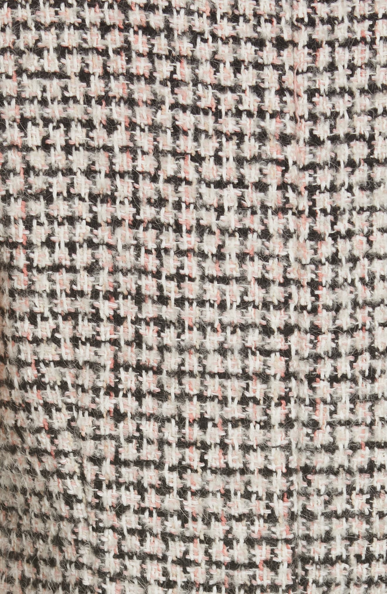 REBECCA TAYLOR, Houndstooth Tweed Dress, Alternate thumbnail 5, color, BLACK/ PINK COMBO