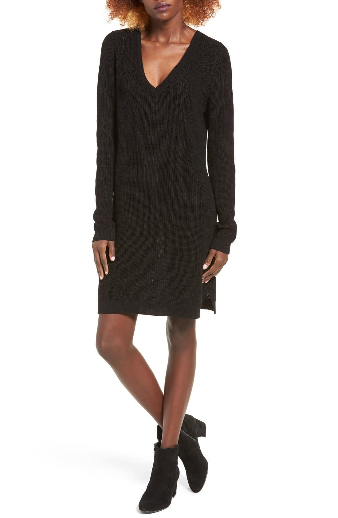 BP. Shaker Stitch Sweater Dress, Main, color, 001