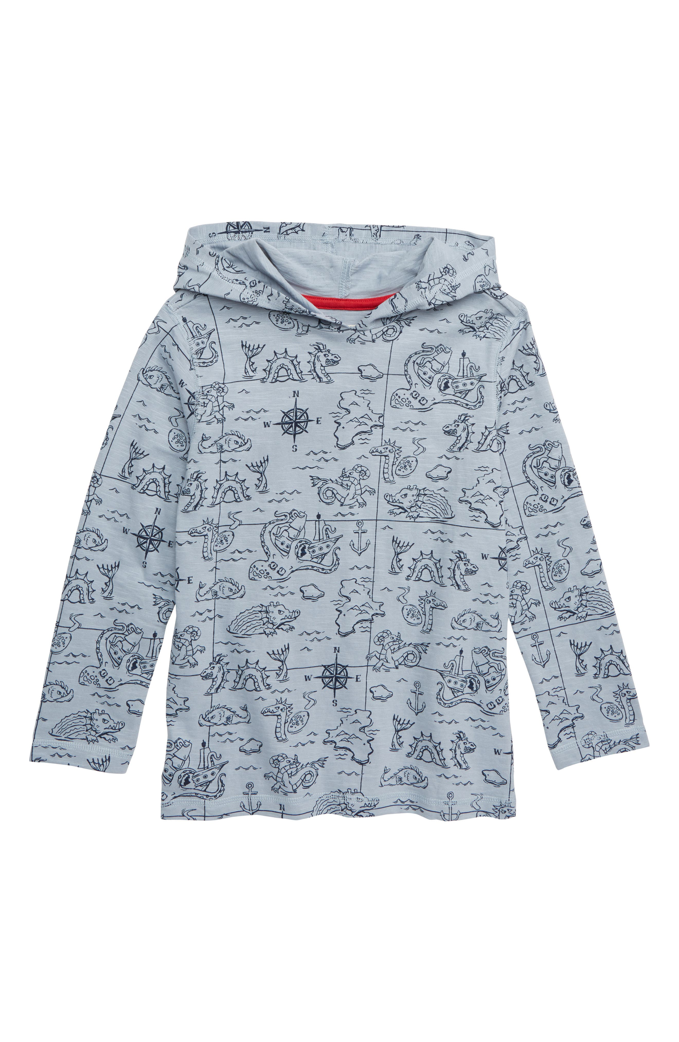 HATLEY Sea Monsters Print Hooded Pullover, Main, color, BLUE