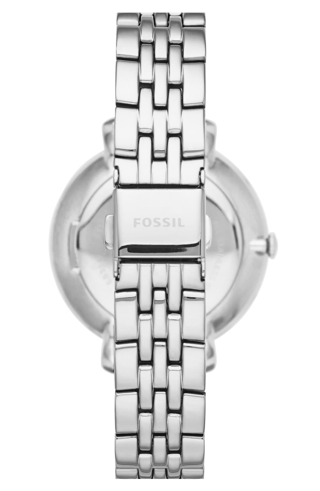 FOSSIL, 'Jacqueline' Crystal Bezel Bracelet Watch, 36mm, Alternate thumbnail 2, color, SILVER