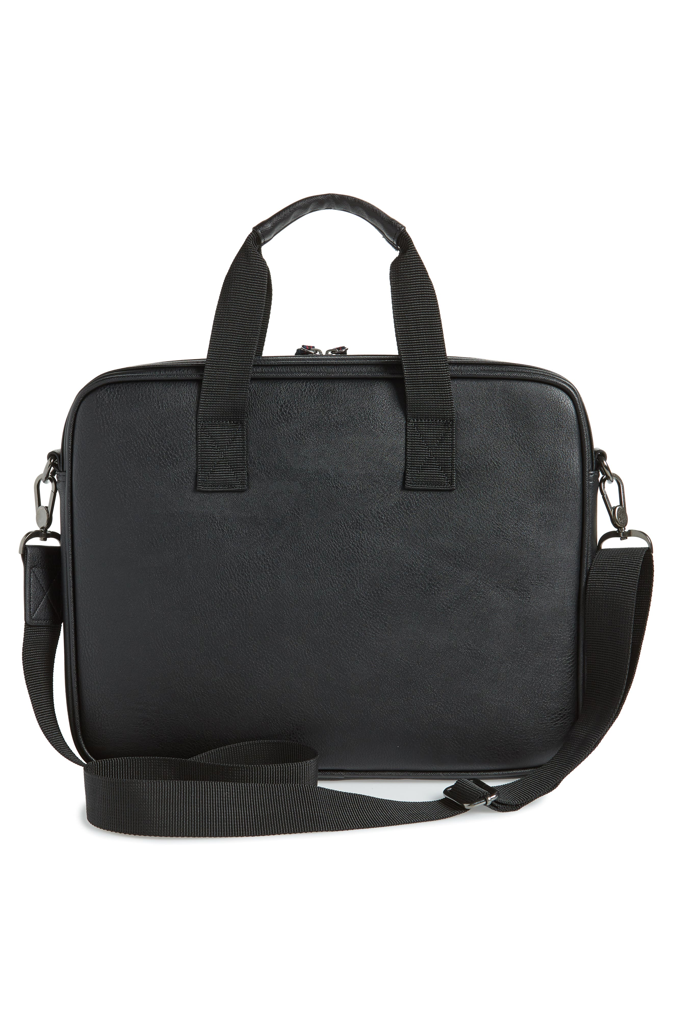TED BAKER LONDON, Faux Leather Document Bag, Alternate thumbnail 3, color, BLACK