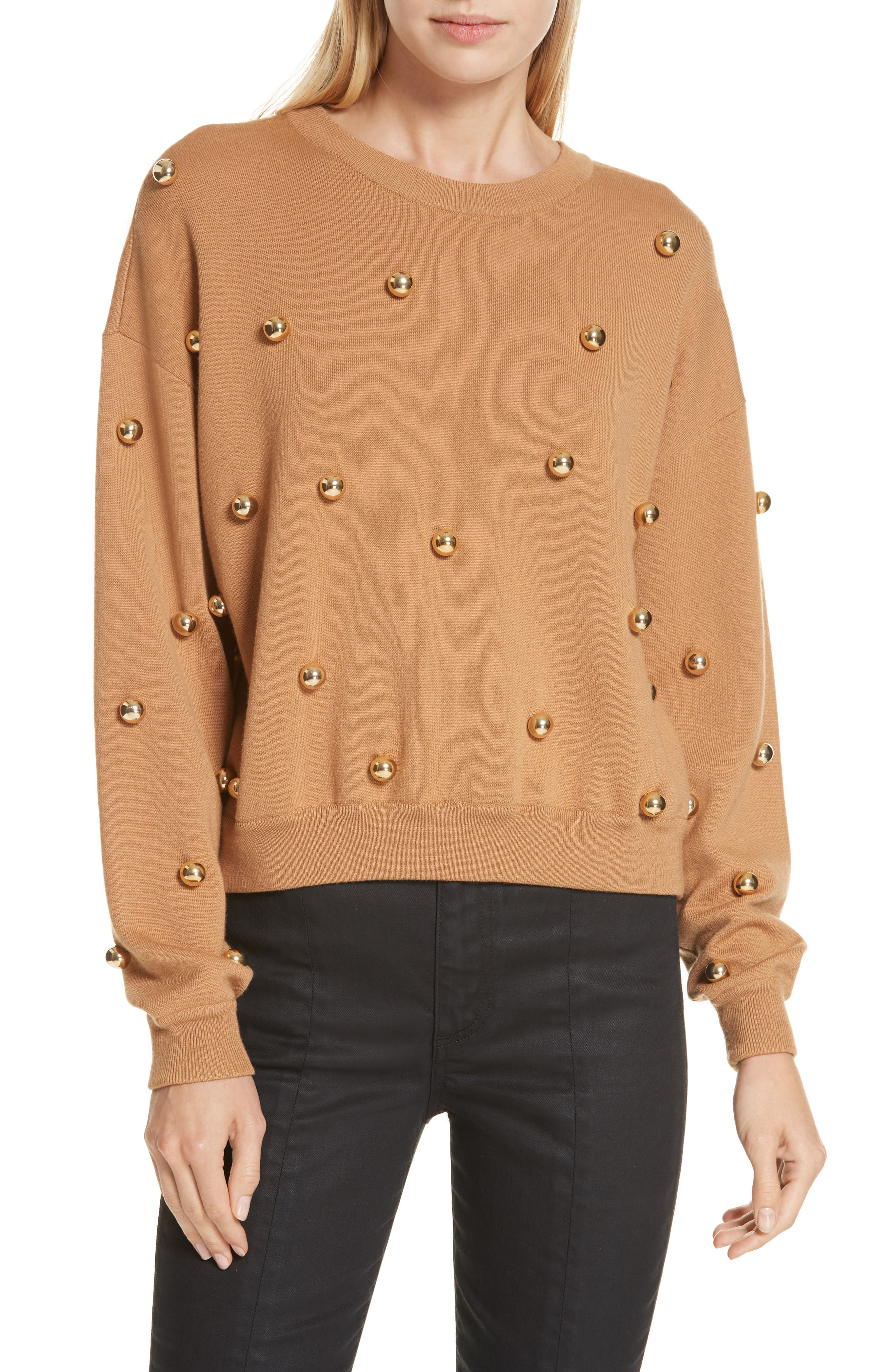 ALICE + OLIVIA, Gleeson Metal Ball Detail Wool Blend Sweater, Main thumbnail 1, color, 200