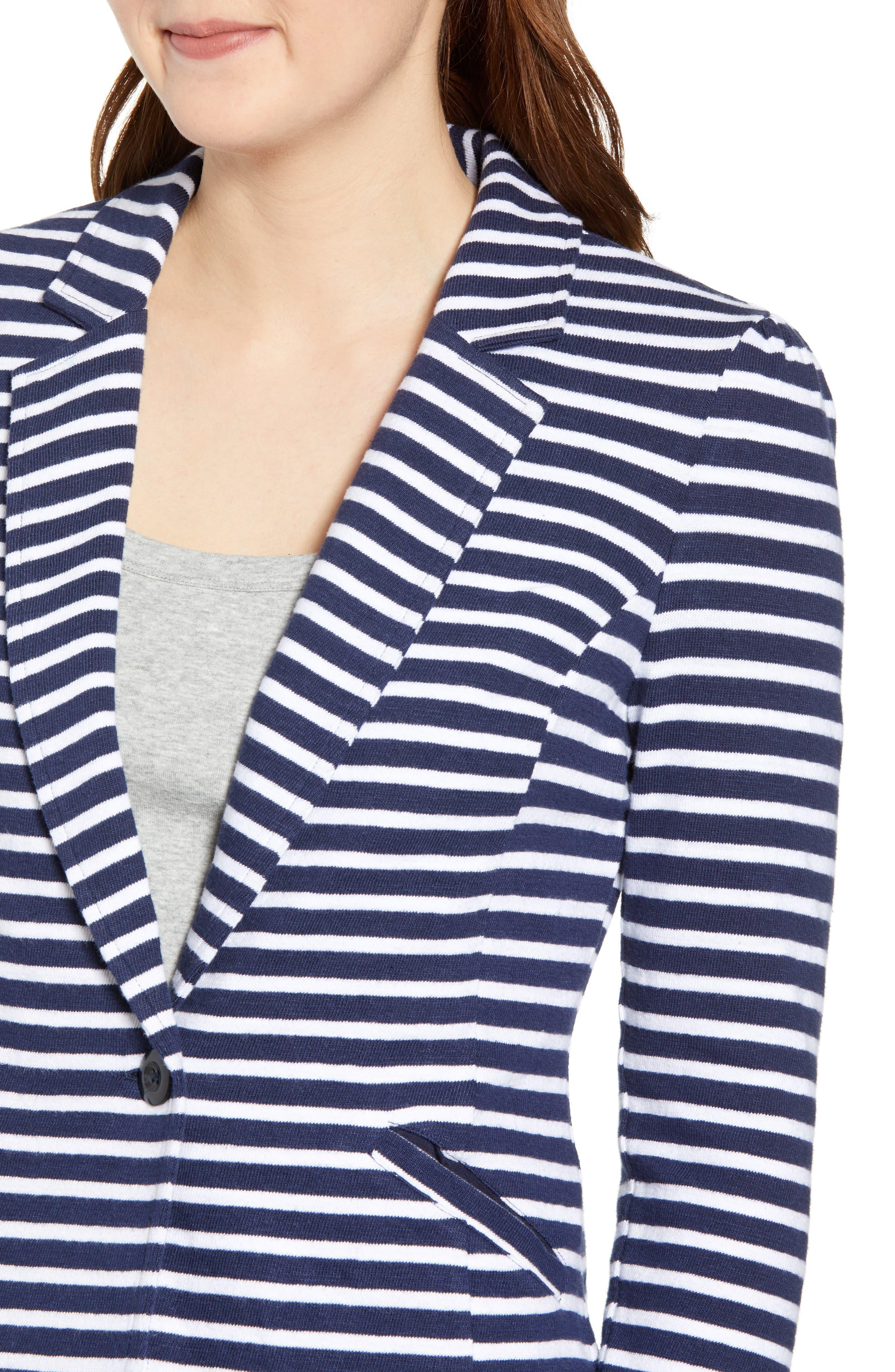 CASLON<SUP>®</SUP>, Knit One-Button Blazer, Alternate thumbnail 5, color, NAVY- WHITE STRIPE