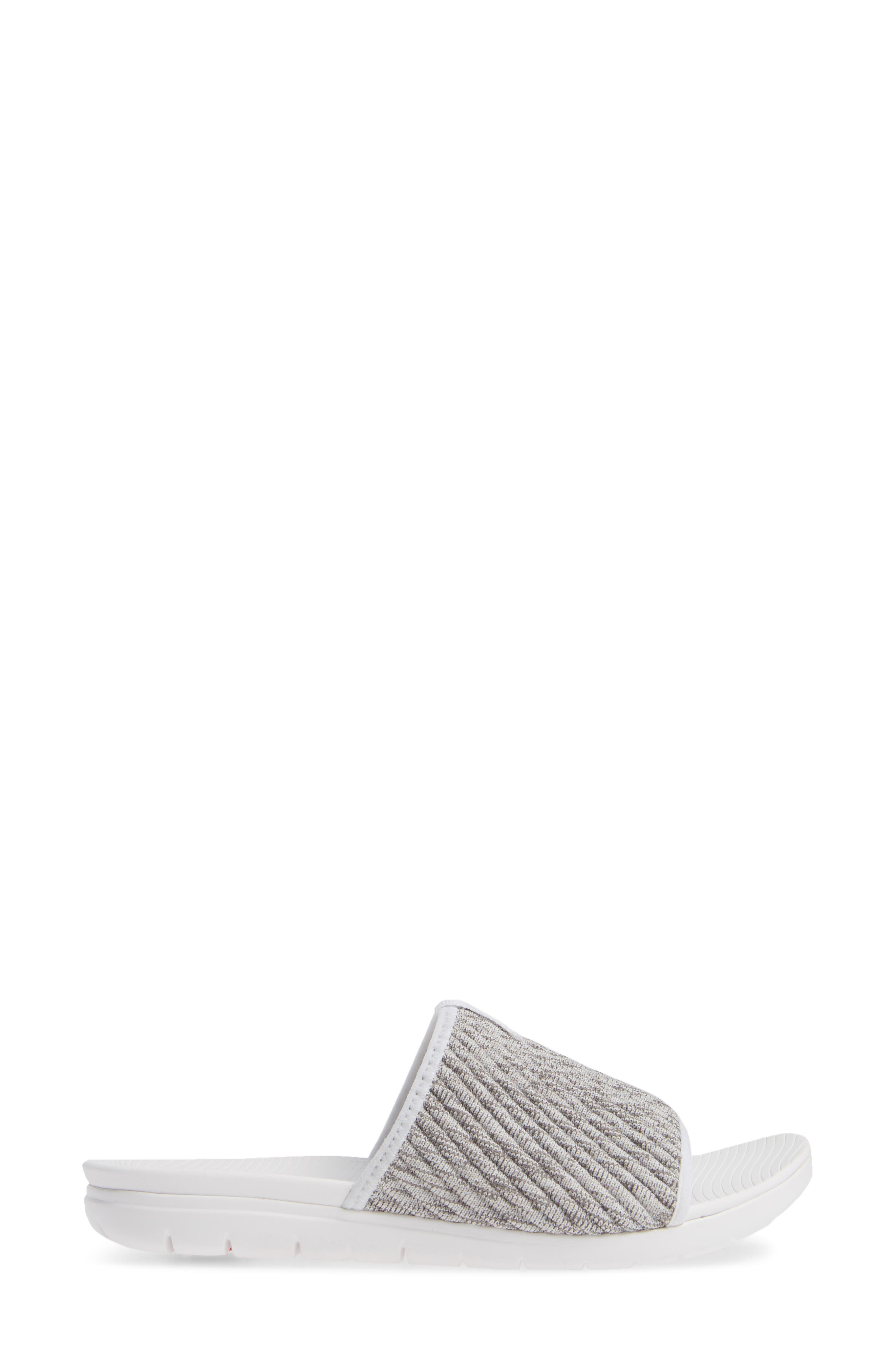 FITFLOP, Artknit Slide Sandal, Alternate thumbnail 3, color, URBAN WHITE MIX FABRIC