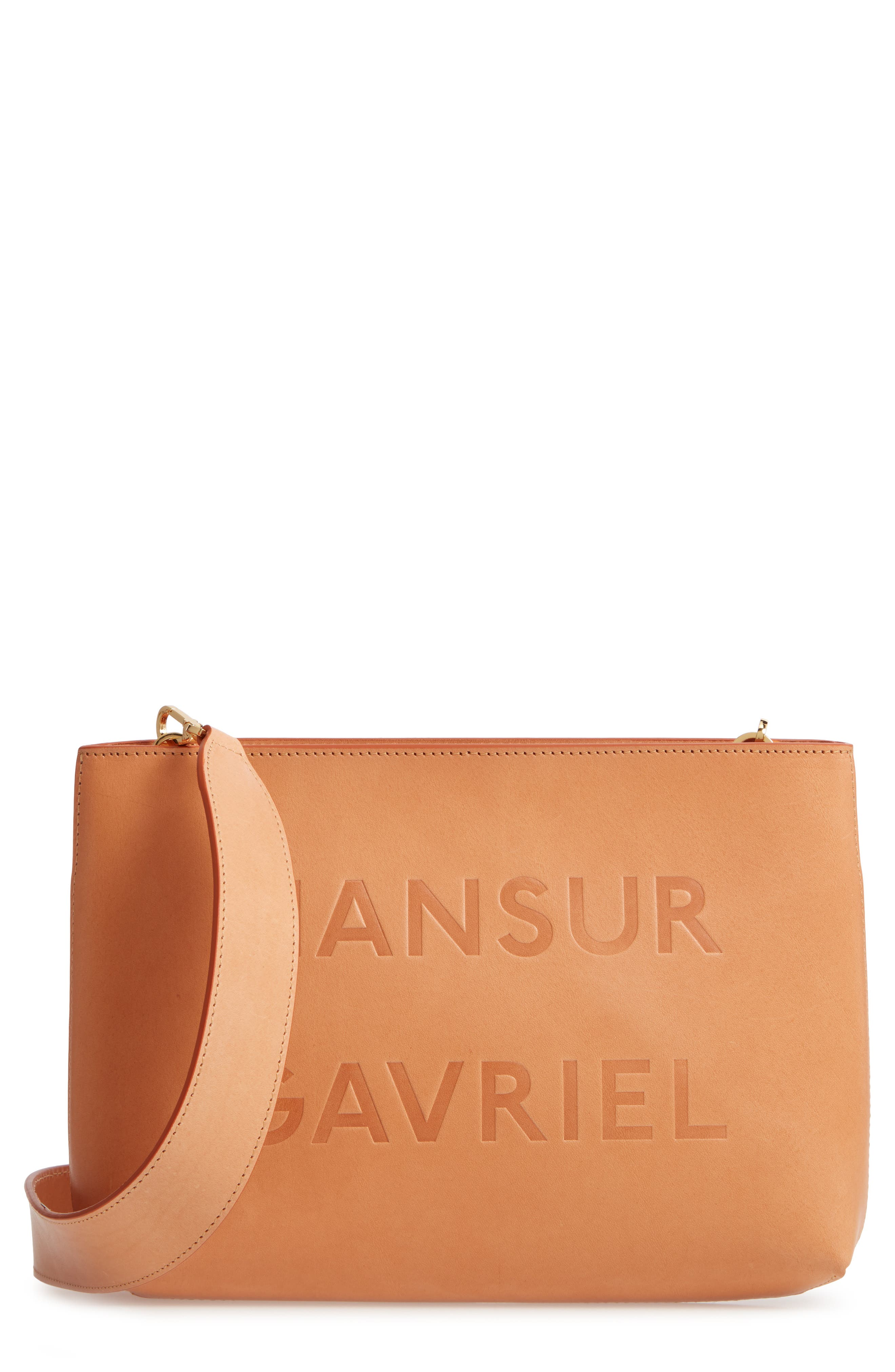 MANSUR GAVRIEL, Logo Leather Crossbody Bag, Main thumbnail 1, color, 250