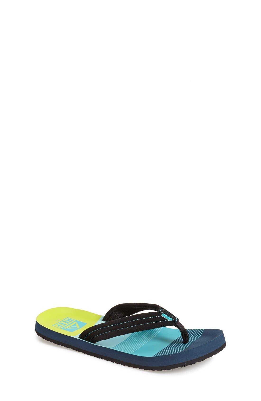 REEF, 'Ahi - Stripes' Sandal, Alternate thumbnail 2, color, AQUA/ GREEN