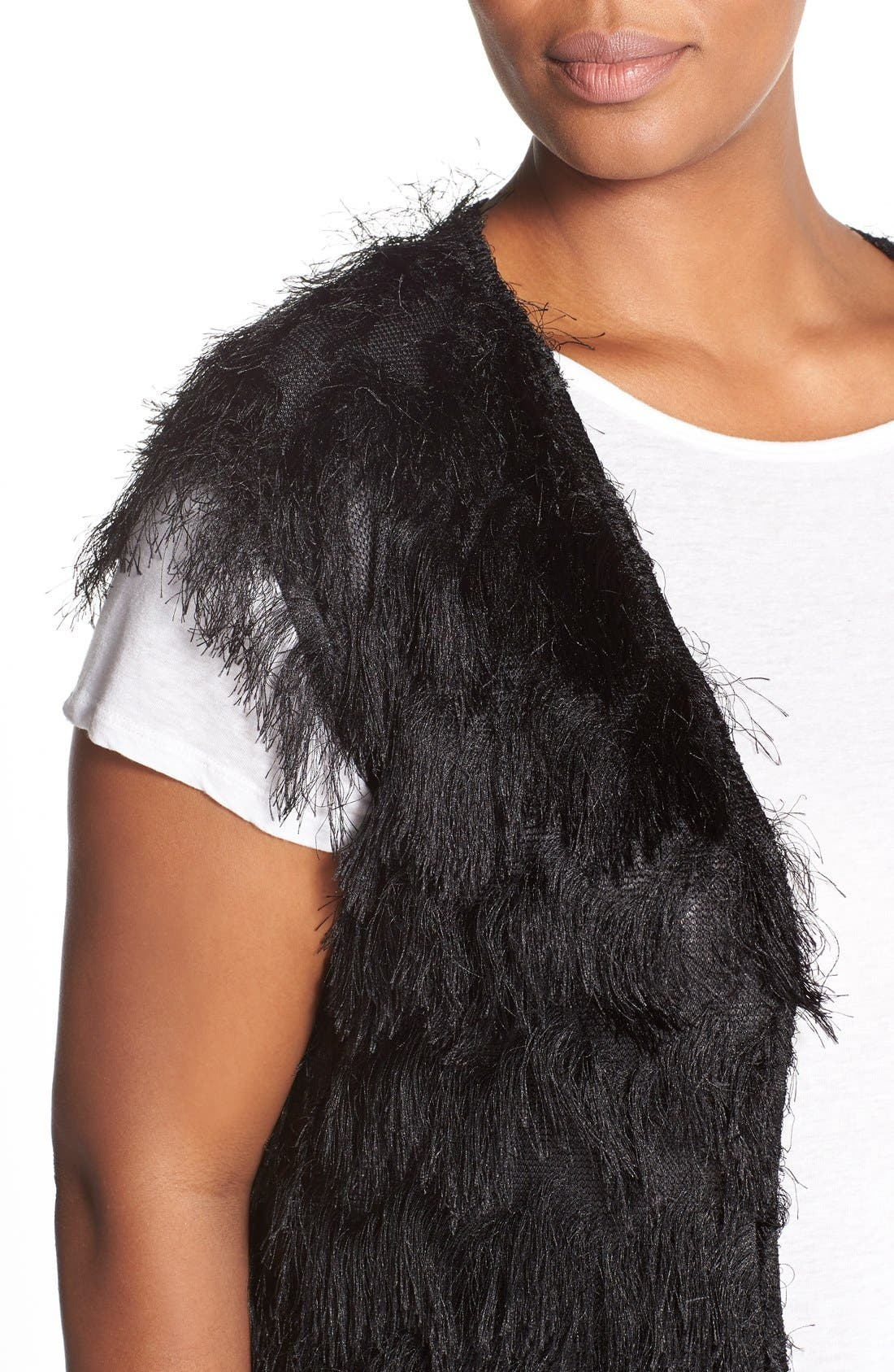 CITY CHIC, 'Disco Fringe' Vest, Alternate thumbnail 3, color, 001