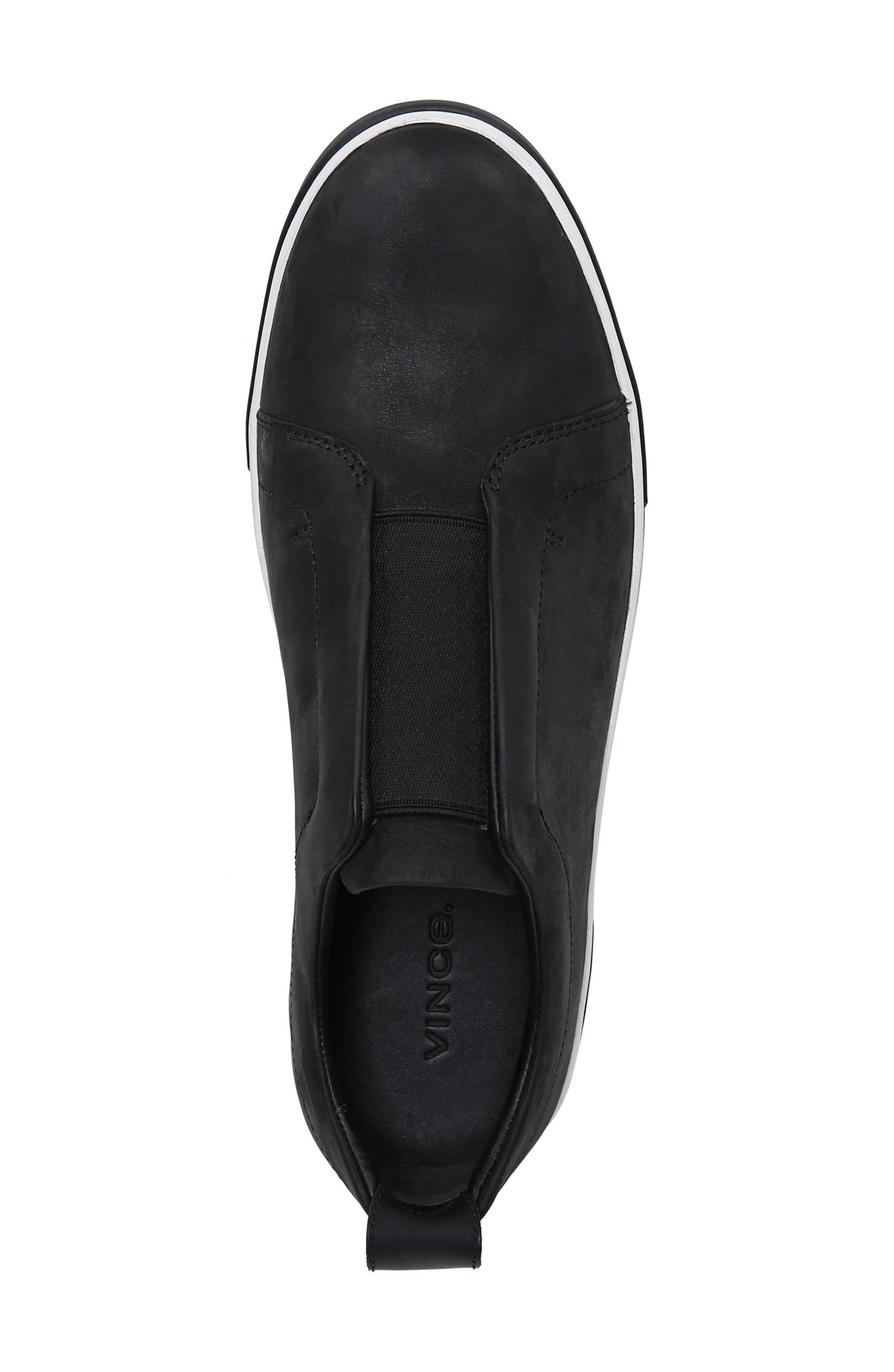 VINCE, Ranger Laceless Sneaker, Alternate thumbnail 5, color, BLACK