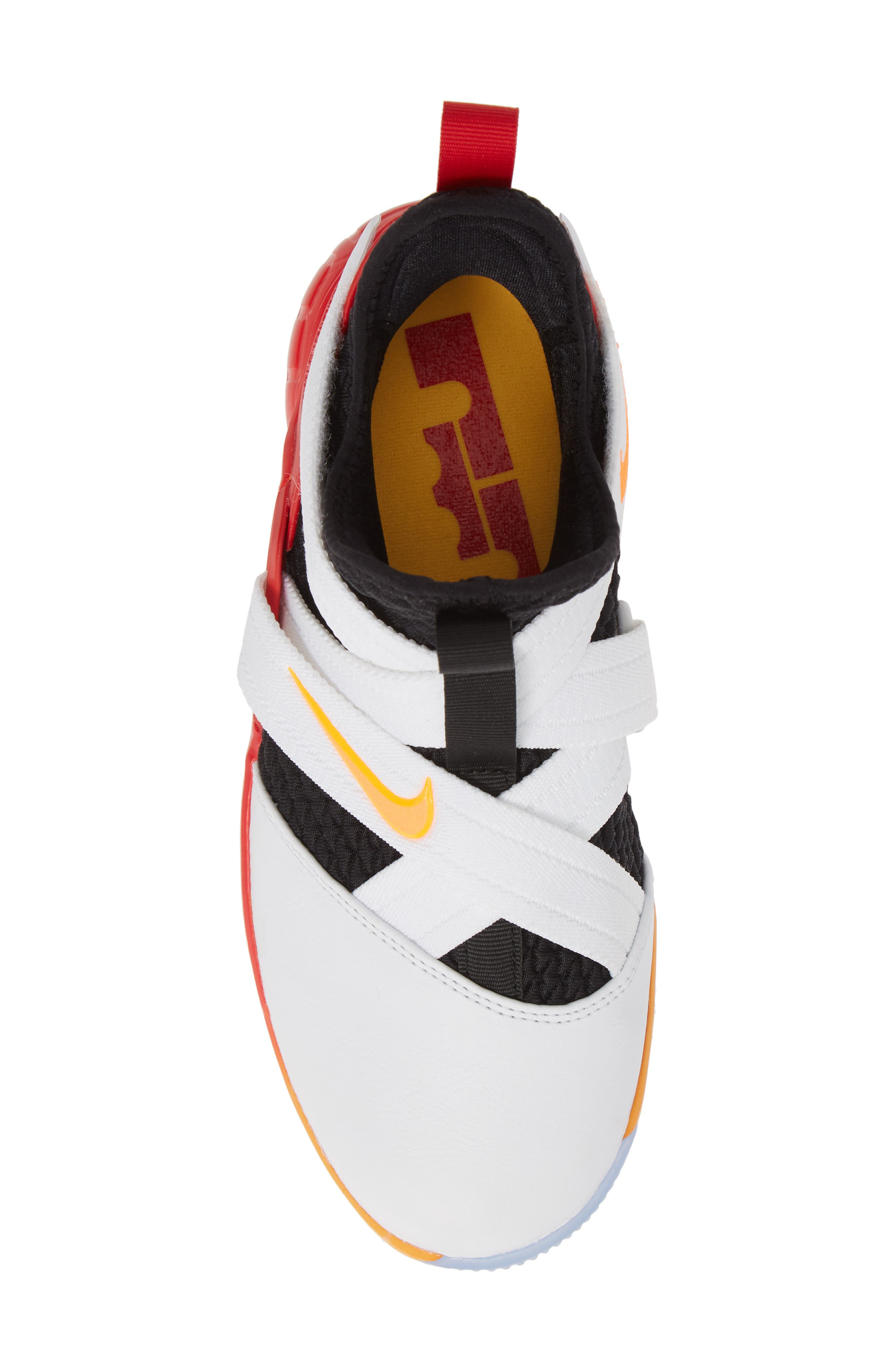 NIKE, LeBron Soldier XII Basketball Shoe, Alternate thumbnail 5, color, WHITE/ LASER ORANGE-BLACK-RED
