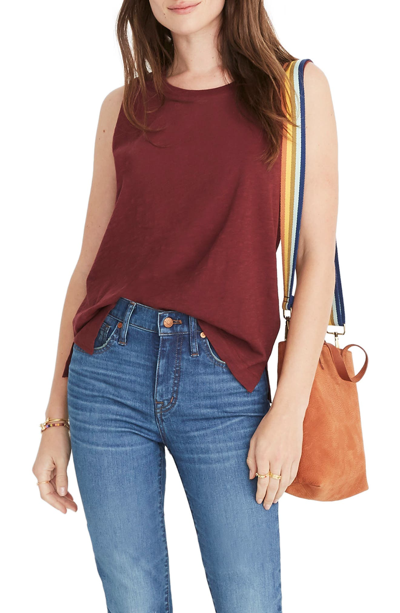MADEWELL Whisper Cotton Crewneck Muscle Tank, Main, color, CABERNET