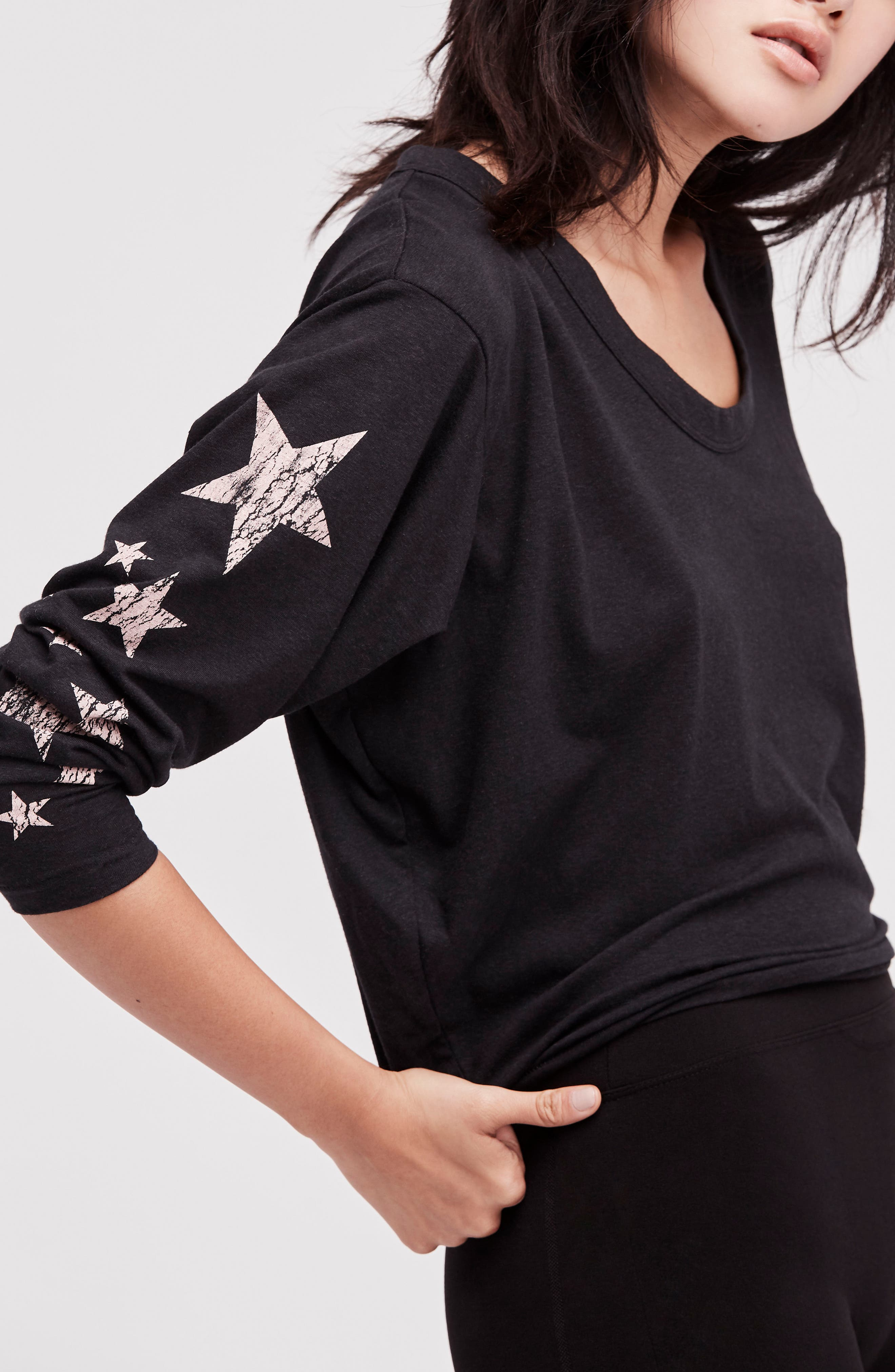 FREE PEOPLE MOVEMENT, Melrose Star Graphic Top, Alternate thumbnail 8, color, 001