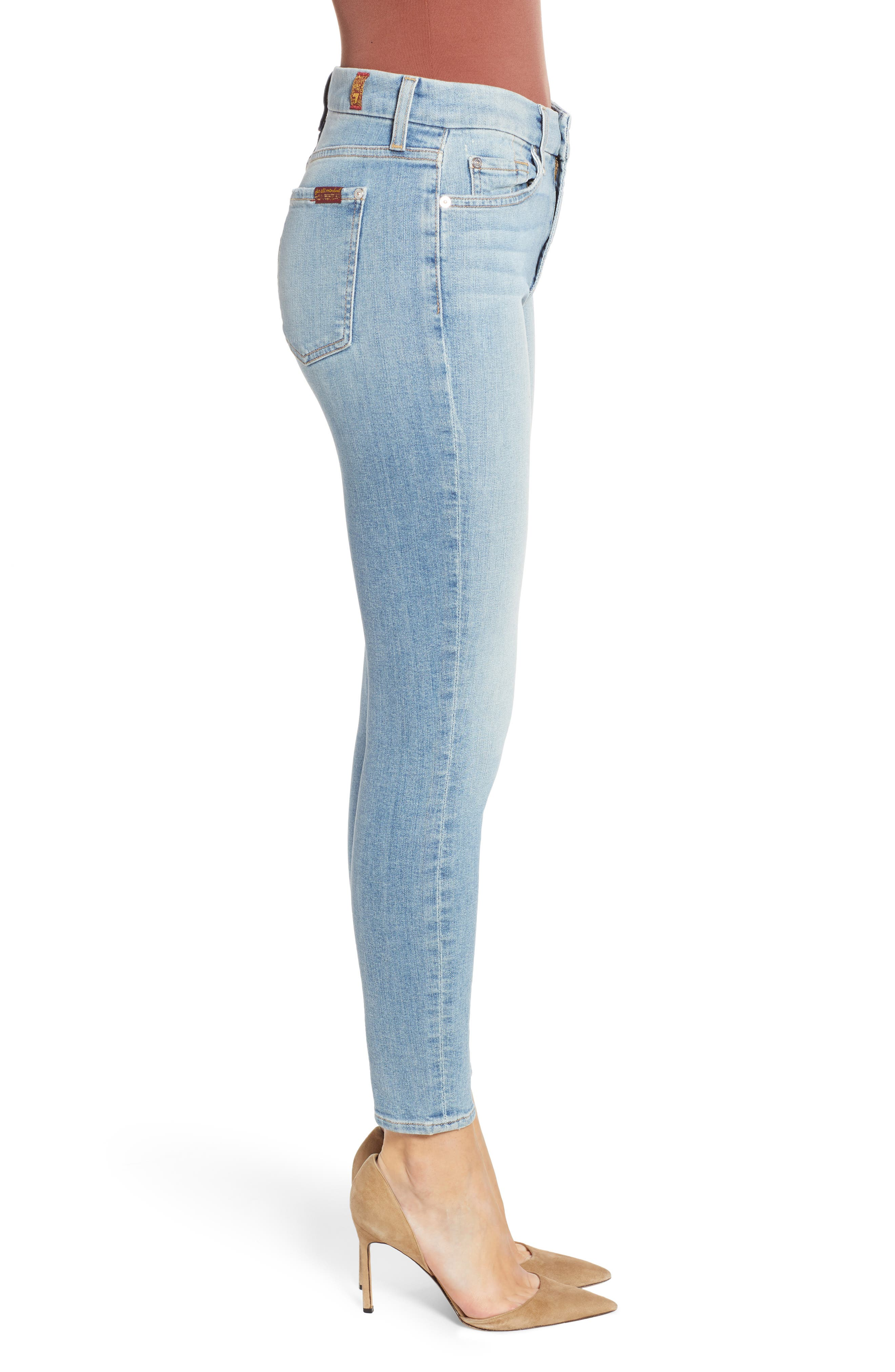 7 FOR ALL MANKIND<SUP>®</SUP>, The High Waist Ankle Skinny Jeans, Alternate thumbnail 4, color, SANDED LIGHT
