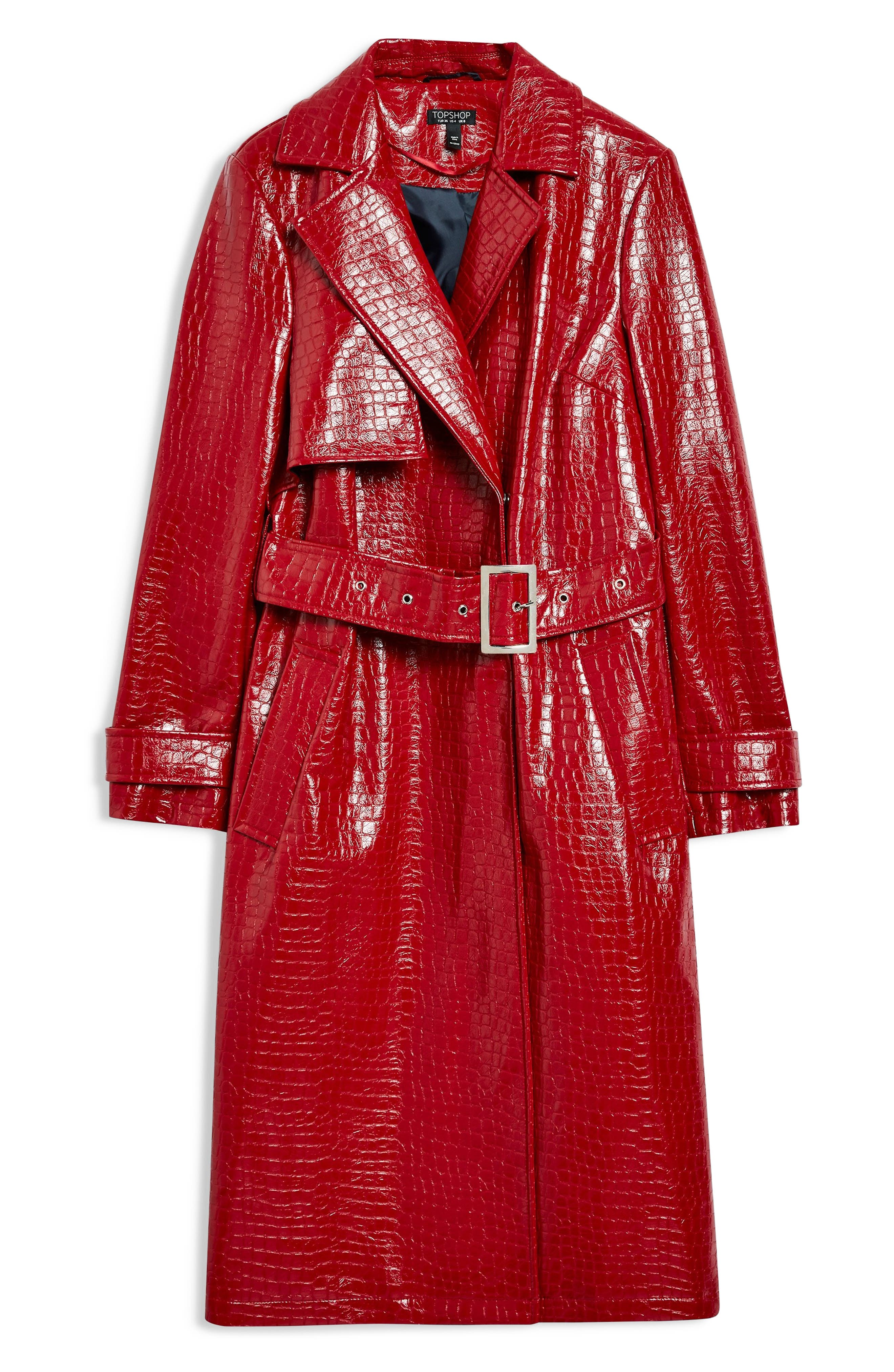 TOPSHOP, Croc-Embossed Trench Coat, Alternate thumbnail 5, color, RED