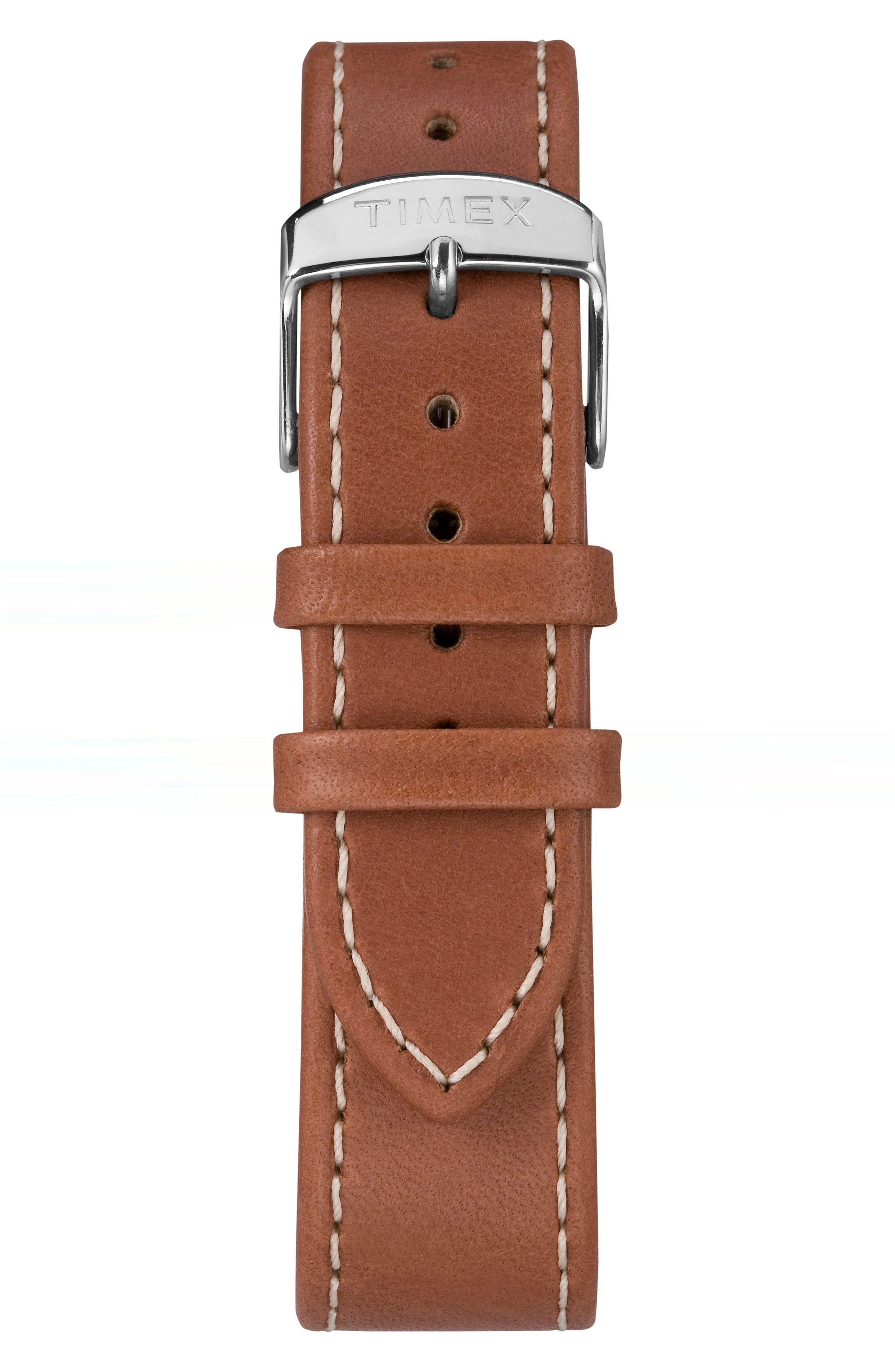 TIMEX<SUP>®</SUP>, Waterbury Classic Leather Strap Watch, 40mm, Alternate thumbnail 2, color, BROWN/ CREAM/ SILVER