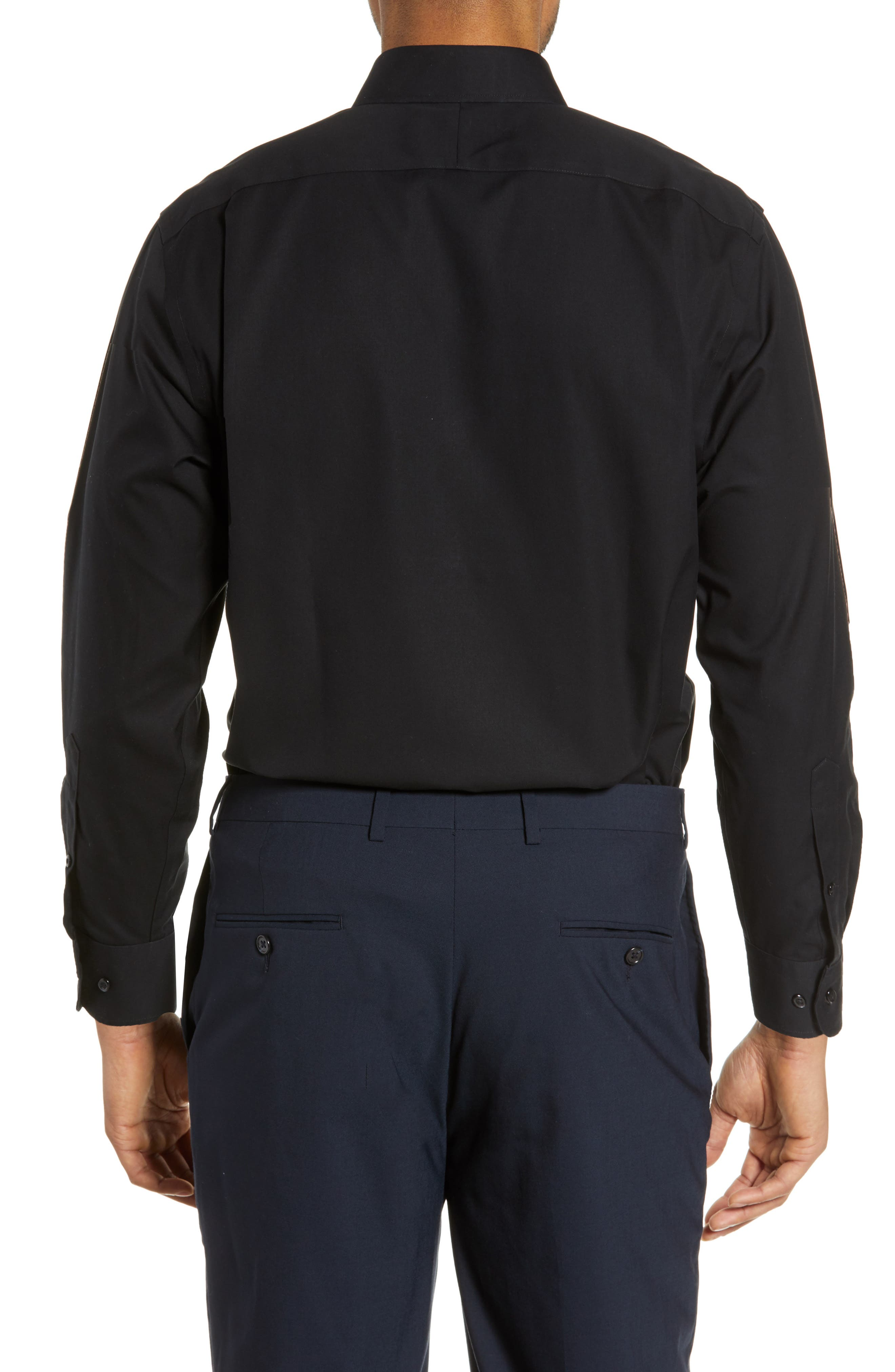 NORDSTROM MEN'S SHOP, Smartcare<sup>™</sup> Traditional Fit Pinpoint Dress Shirt, Alternate thumbnail 3, color, BLACK ROCK