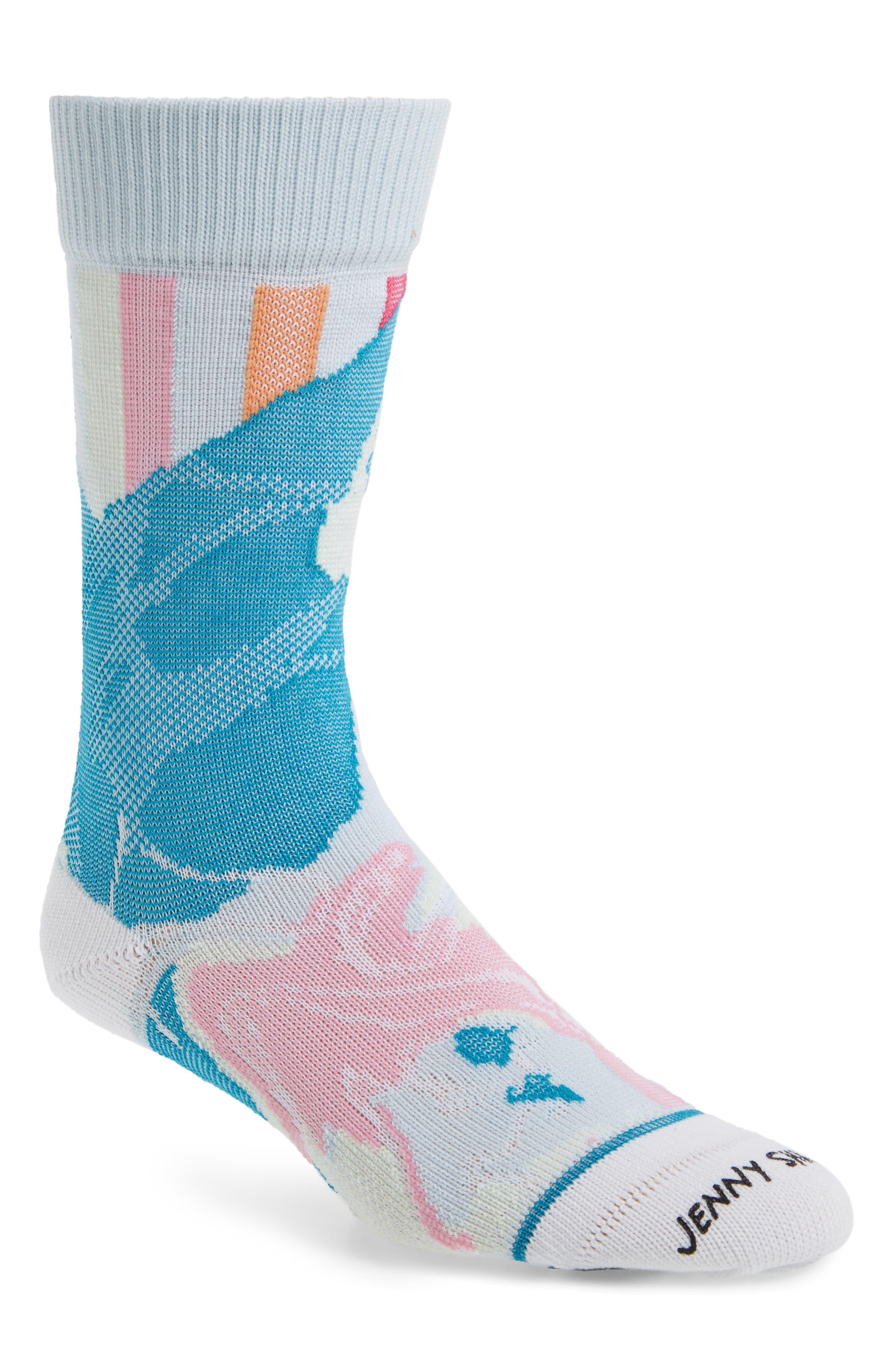 STANCE Spilled Color Crew Socks, Main, color, BLUE