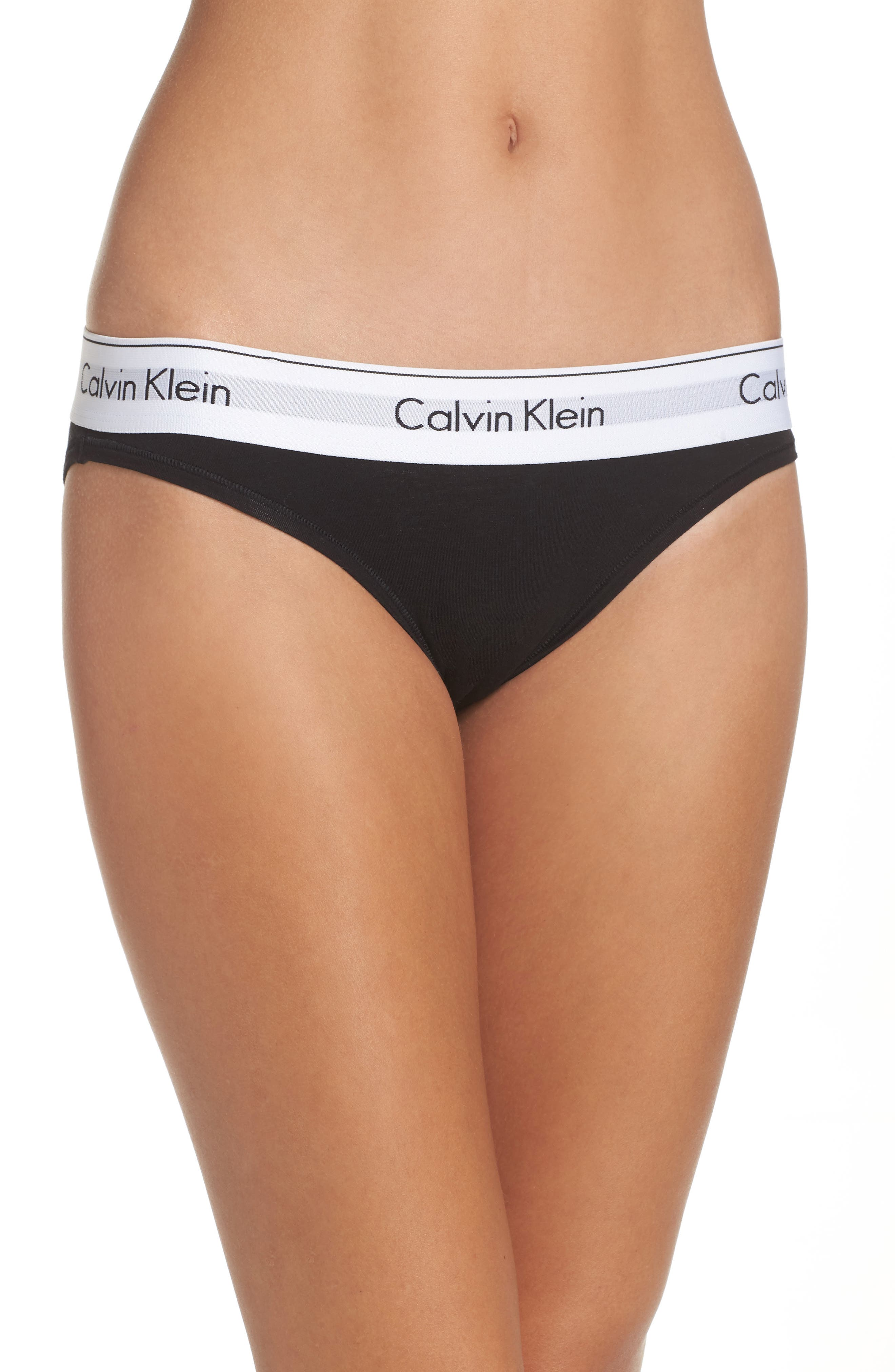 CALVIN KLEIN, 'Modern Cotton Collection' Cotton Blend Bikini, Alternate thumbnail 2, color, BLACK