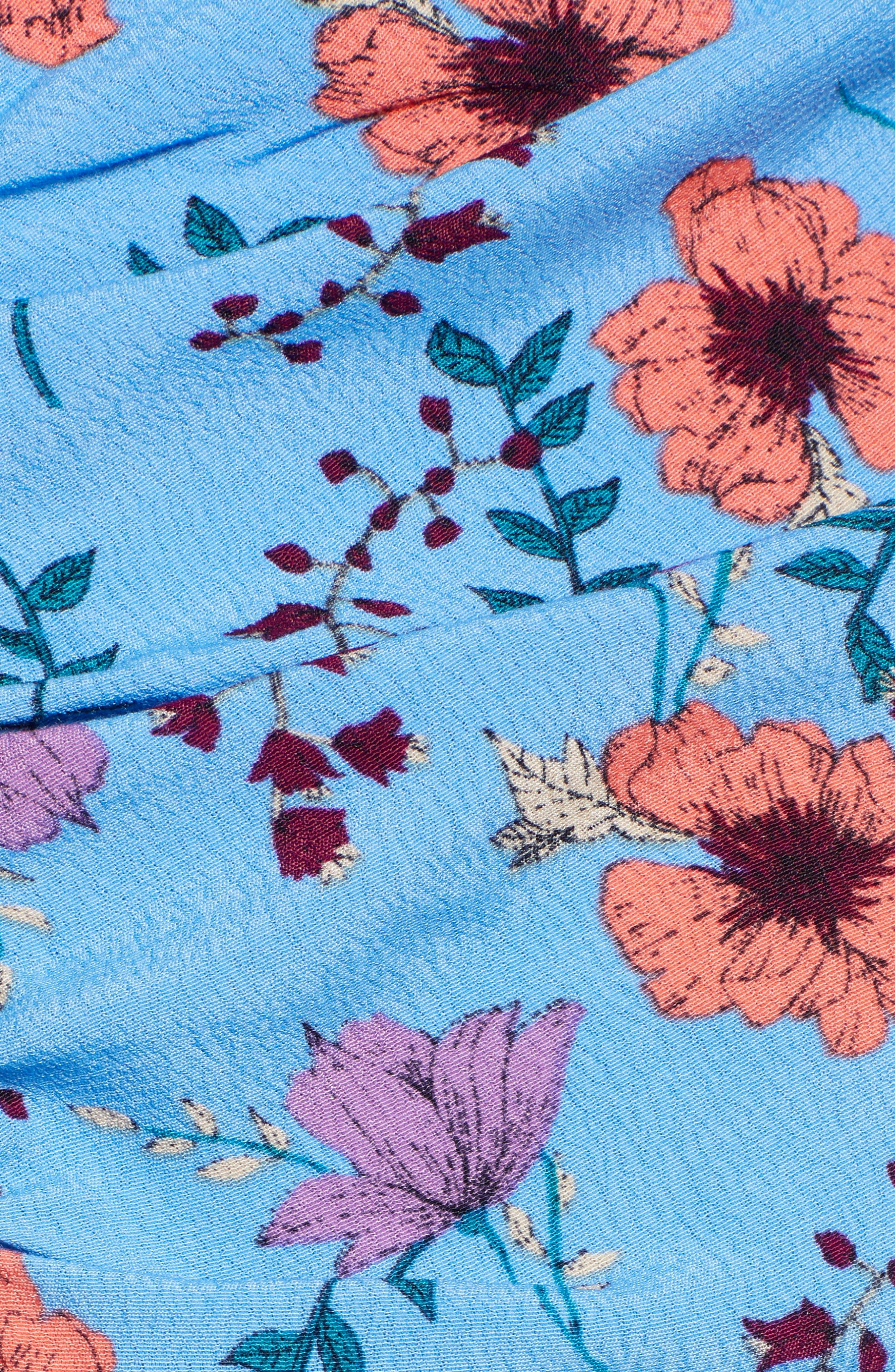 ASTR THE LABEL, Floral Print Ruched Dress, Alternate thumbnail 6, color, BLUE MULTI FLORAL
