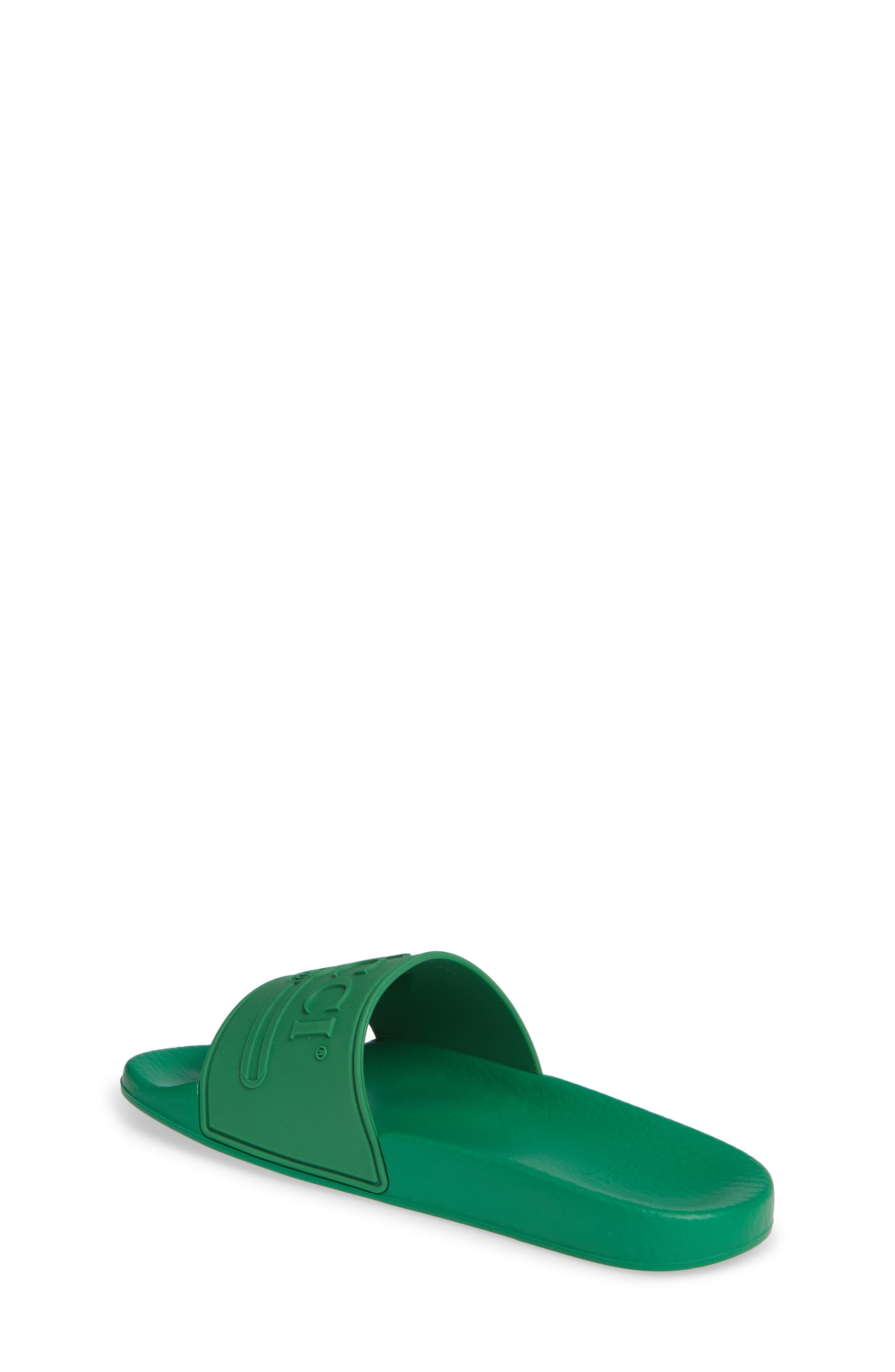 GUCCI, Pursuit Logo Slide Sandal, Alternate thumbnail 2, color, SHAMROCK