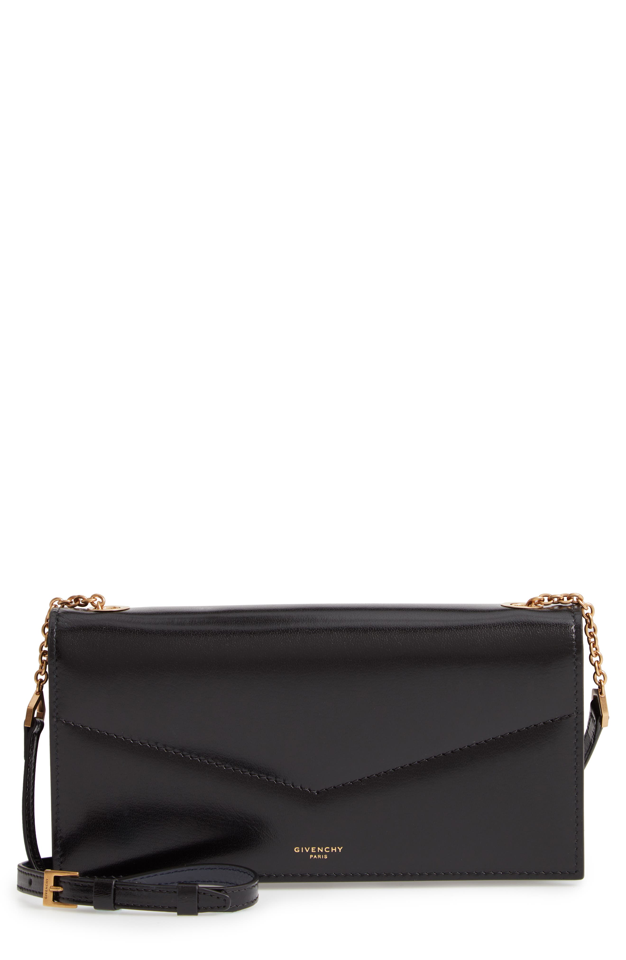 GIVENCHY Leather Wallet on a Chain, Main, color, BLACK