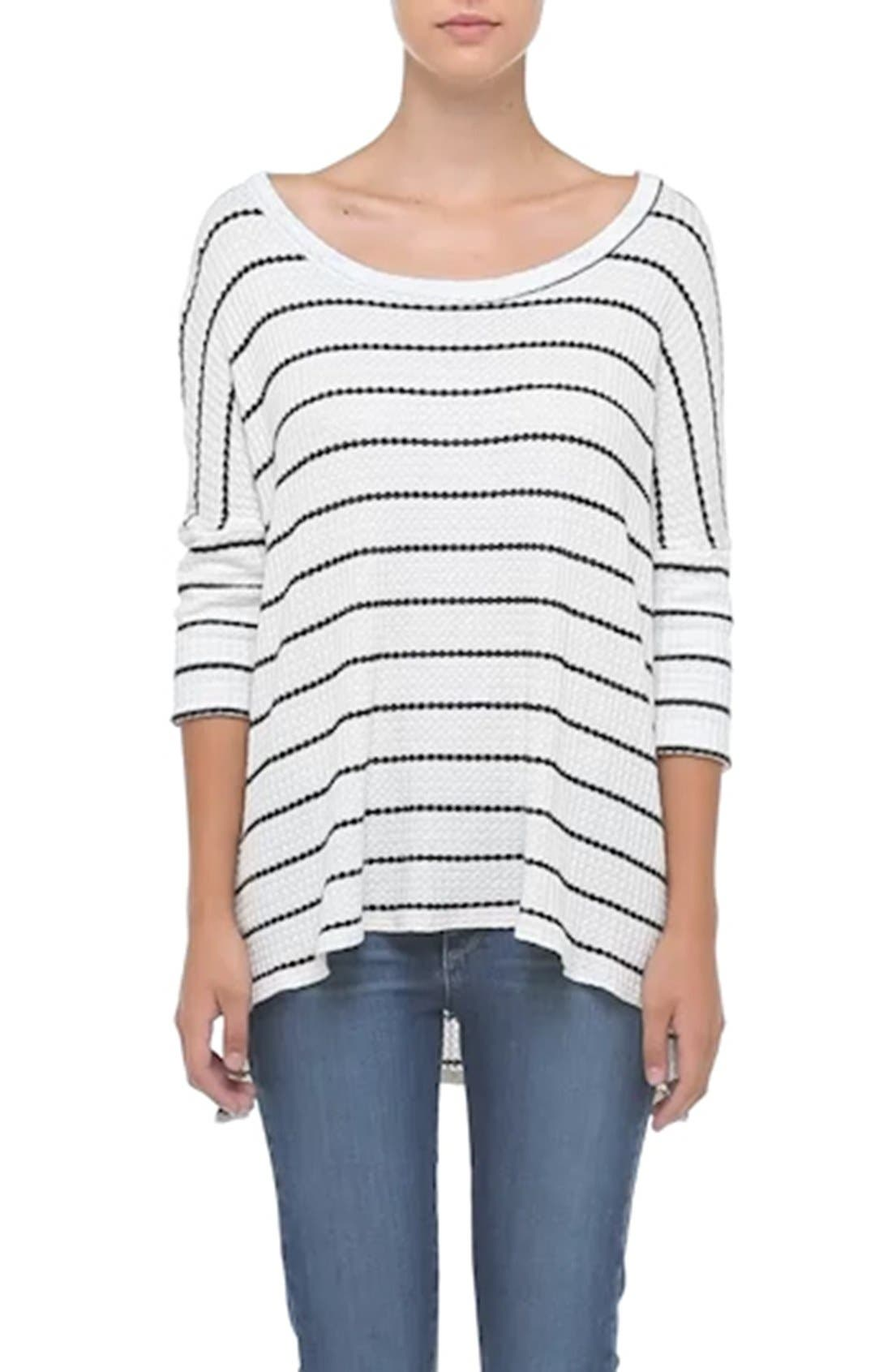CHASER, Stripe Thermal Sweater, Alternate thumbnail 3, color, 001