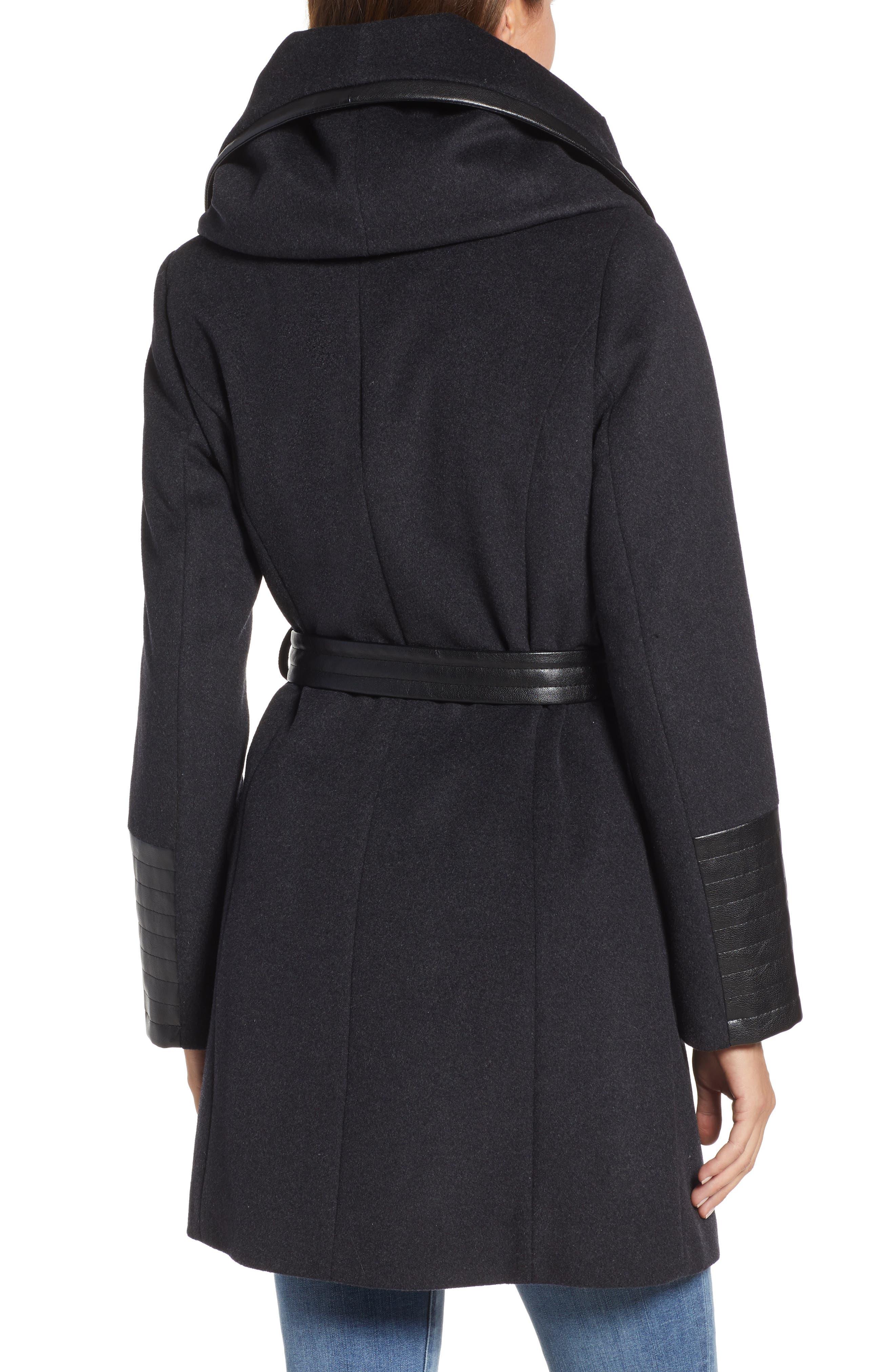 VIA SPIGA, Wool Blend Coat, Alternate thumbnail 2, color, CHARCOAL