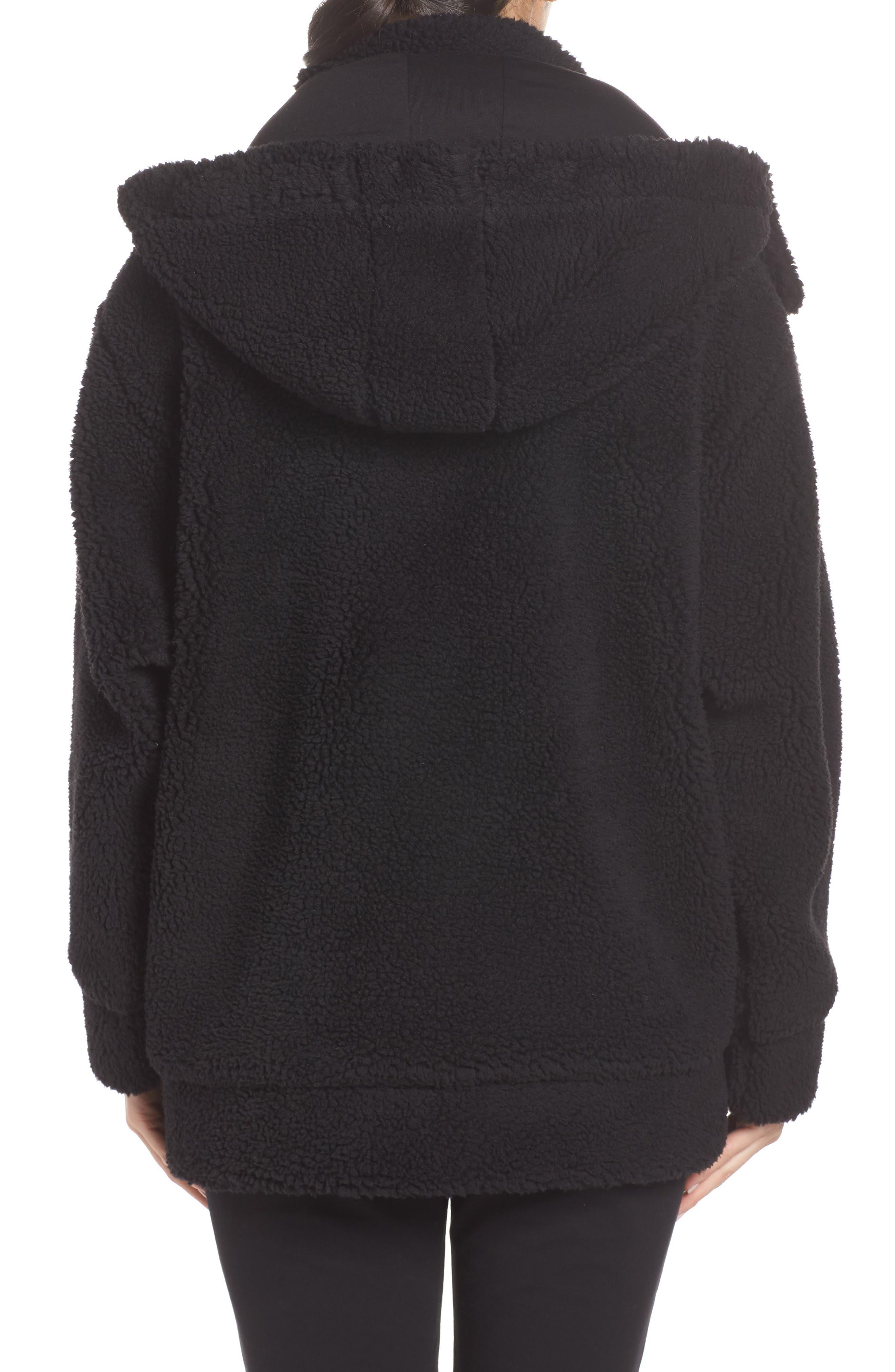 ALO, Norte Faux Fur Coat, Alternate thumbnail 2, color, BLACK