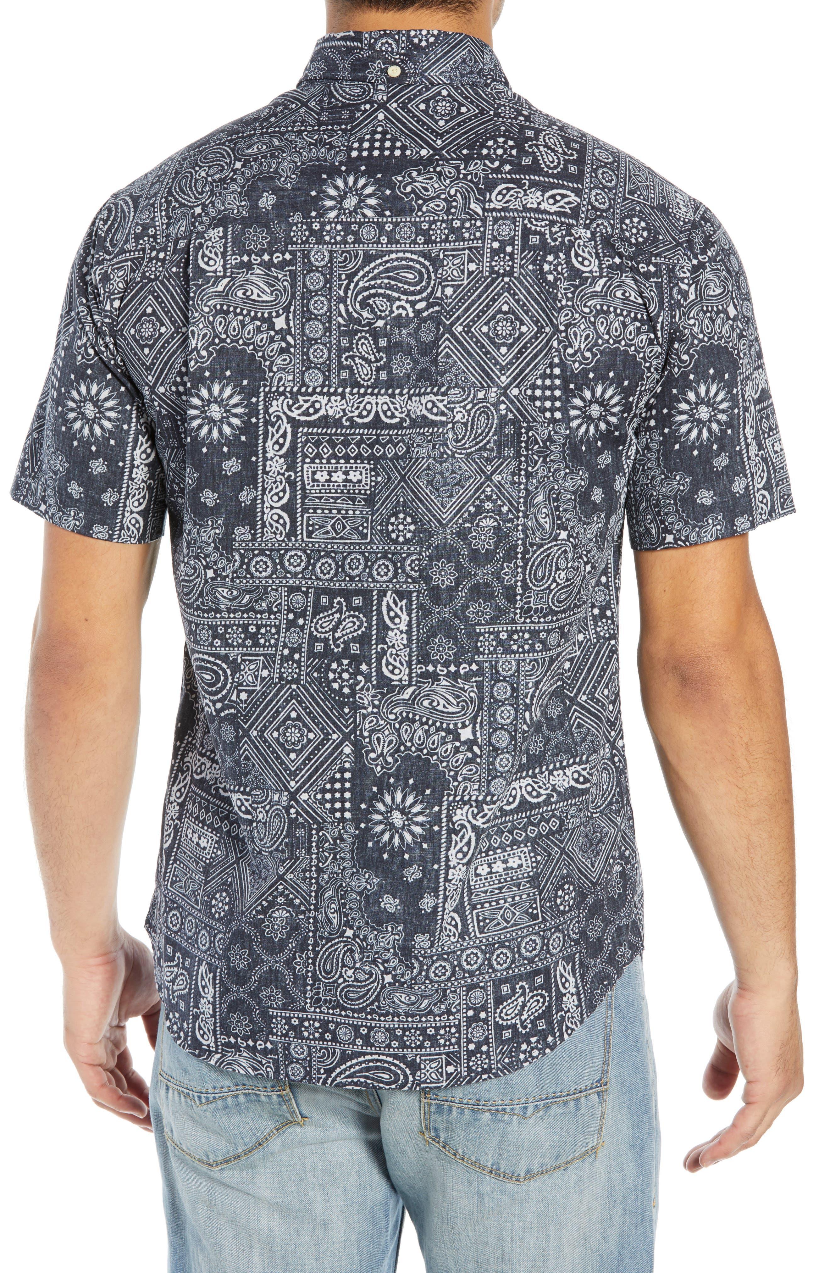 REYN SPOONER, Aloha Bandana Regular Fit Sport Shirt, Alternate thumbnail 3, color, 001