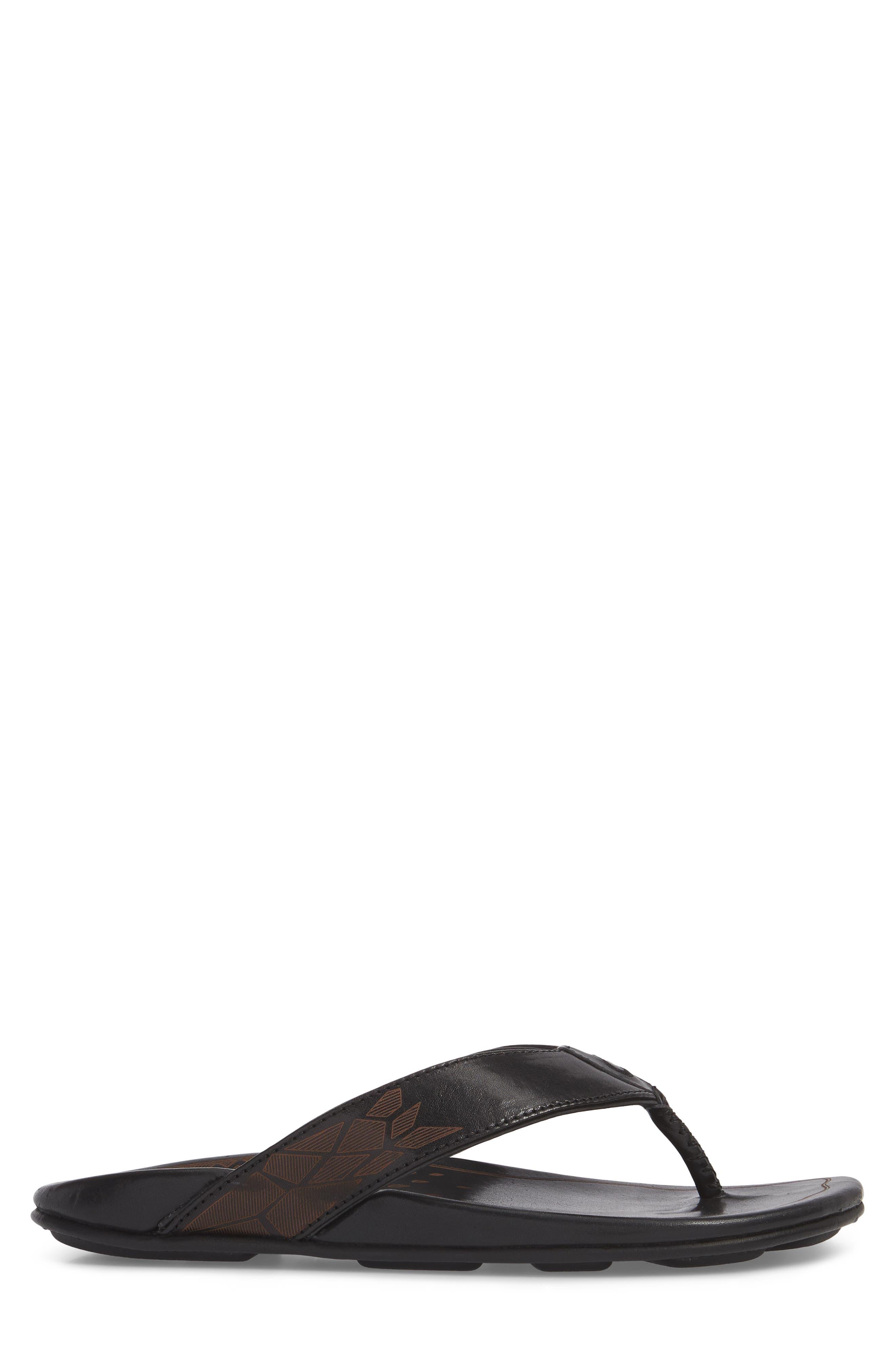 OLUKAI, Kulia Flip Flop, Alternate thumbnail 3, color, BLACK/ BLACK LEATHER